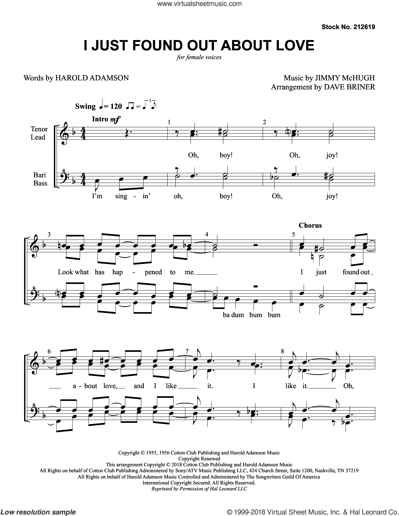 I Just Found out About Love (arr. Dave Briner) sheet music for choir (SSAA: soprano, alto) by Nat King Cole, Dave Briner, Harold Adamson and Jimmy McHugh, intermediate skill level