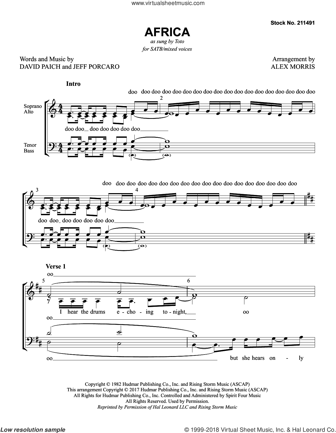 Africa (arr. Alex Morris) sheet music for choir (SATB: soprano, alto, tenor, bass) by Toto, Alex Morris, David Paich and Jeff Porcaro, intermediate skill level