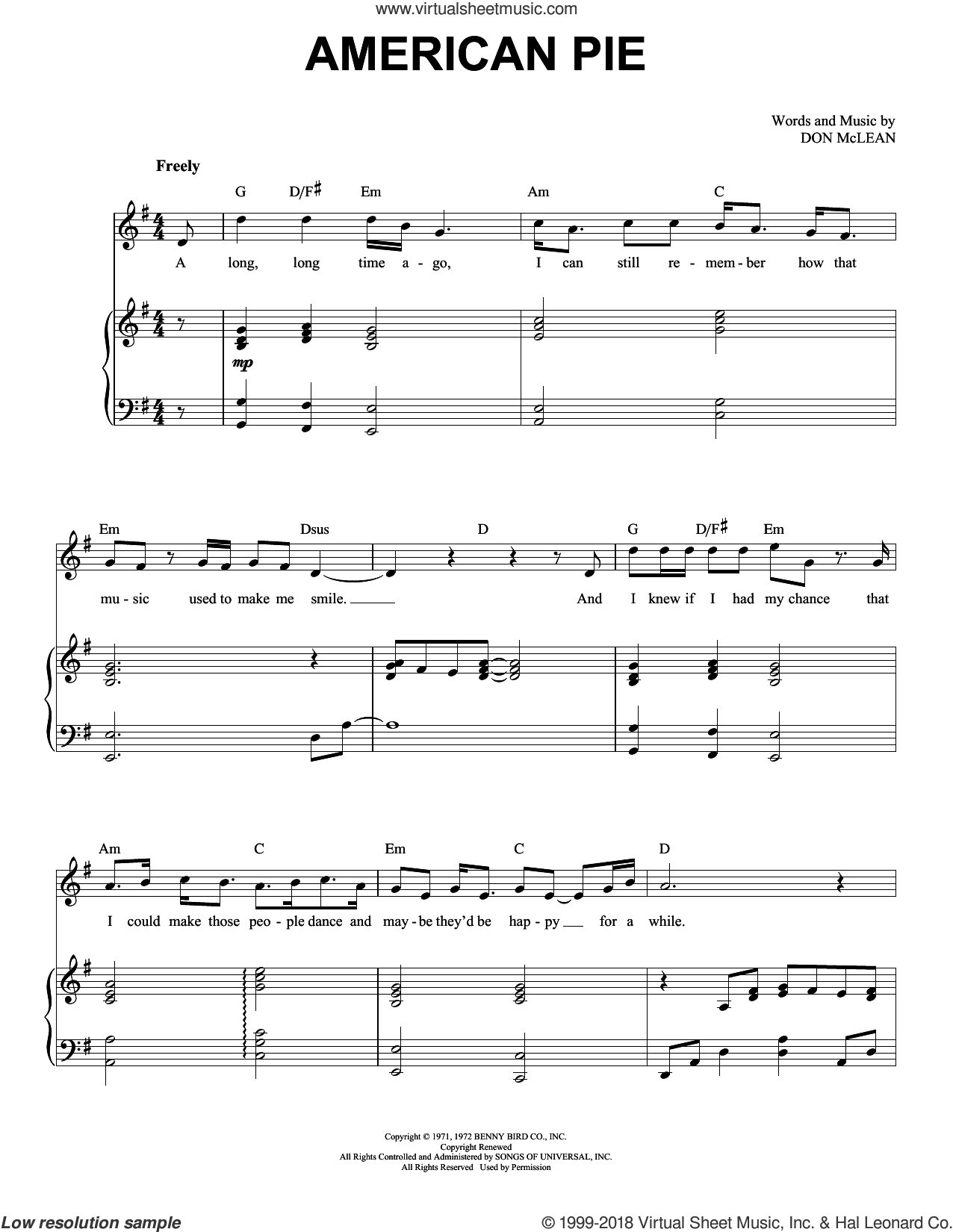 American Pie sheet music for voice and piano by Don McLean, intermediate skill level