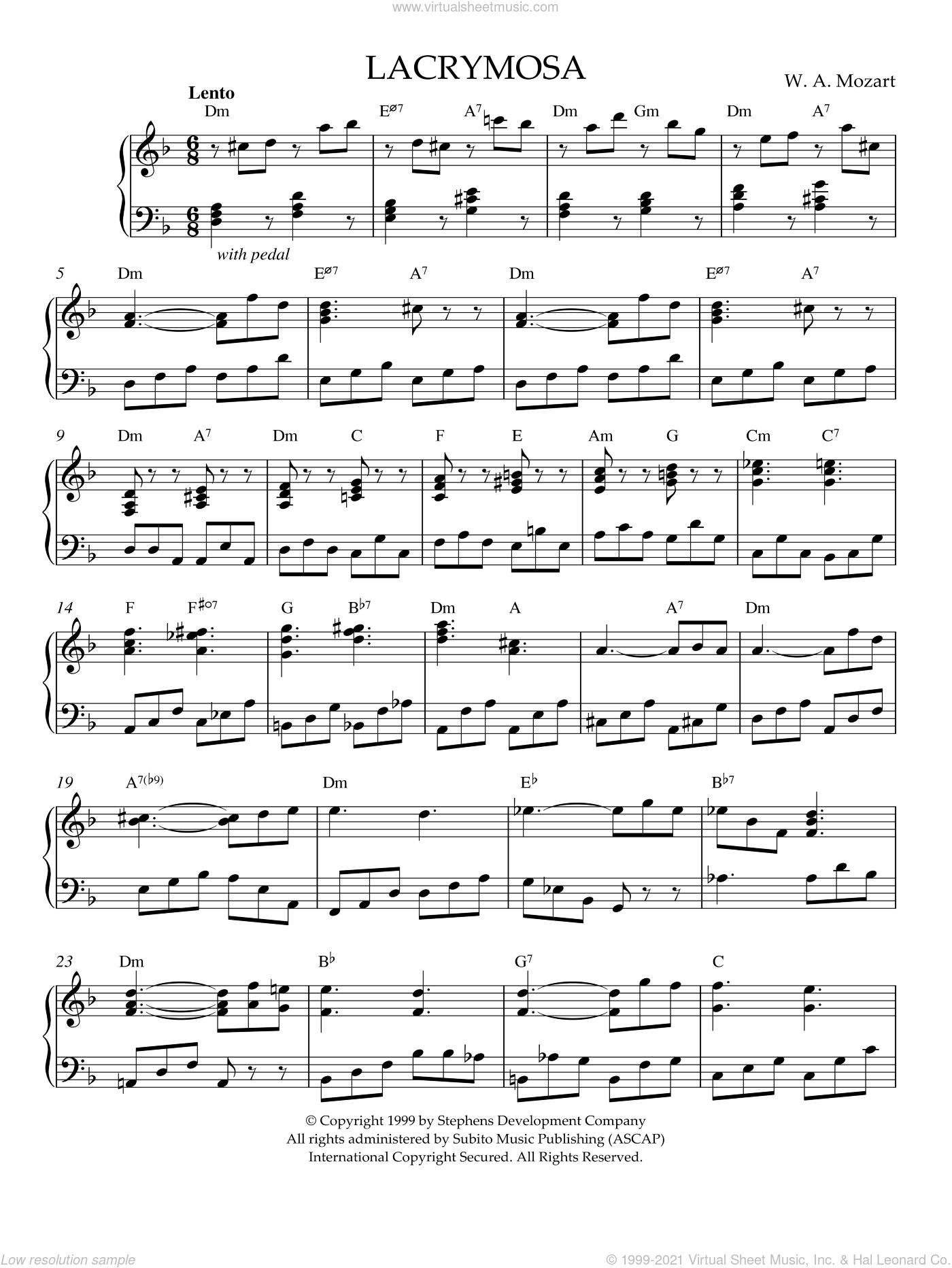 Lacrymosa, K. 626 sheet music for piano solo by Wolfgang Amadeus Mozart, intermediate skill level