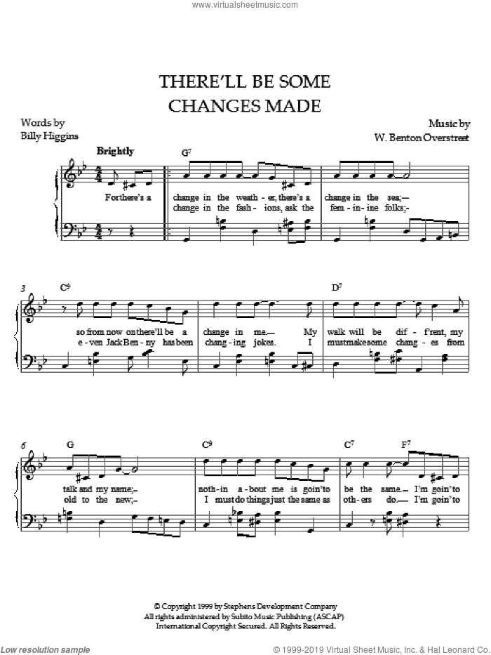 There'll Be Some Changes Made sheet music for piano solo by Paul Overstreet