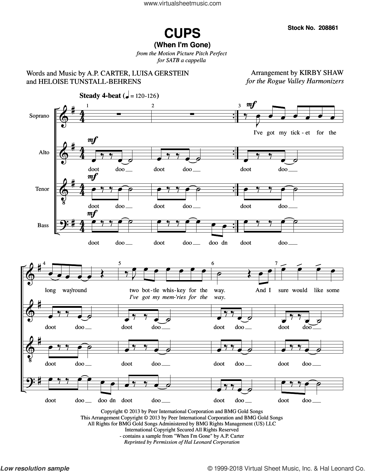 Cups (When I'm Gone) (from Pitch Perfect) (arr. Kirby Shaw) sheet music for choir (SATB: soprano, alto, tenor, bass) by Anna Kendrick, Kirby Shaw, A.P. Carter, Heloise Tunstall-Behrens and Luisa Gerstein, intermediate skill level