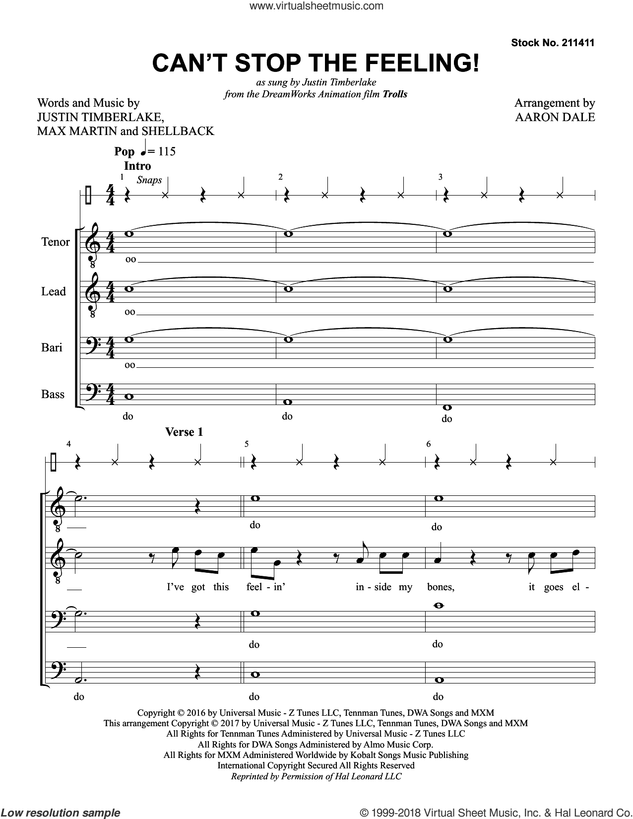Can't Stop the Feeling! (arr. Aaron Dale) sheet music for choir (TTBB: tenor, bass) by Justin Timberlake, Aaron Dale, Johan Schuster, Max Martin and Shellback, intermediate skill level