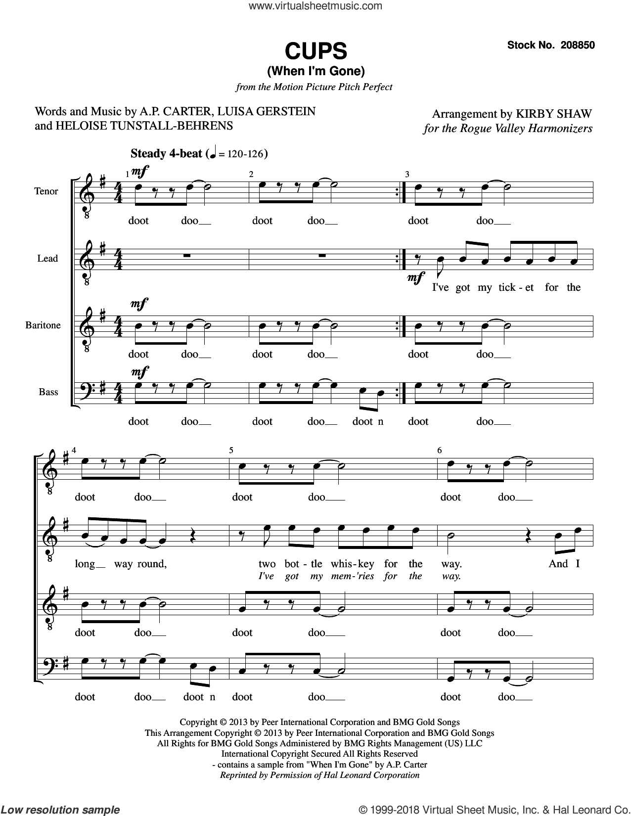 Cups (When I'm Gone) (from Pitch Perfect) (arr. Kirby Shaw) sheet music for choir (TTBB: tenor, bass) by Anna Kendrick, Kirby Shaw, A.P. Carter, Heloise Tunstall-Behrens and Luisa Gerstein, intermediate skill level