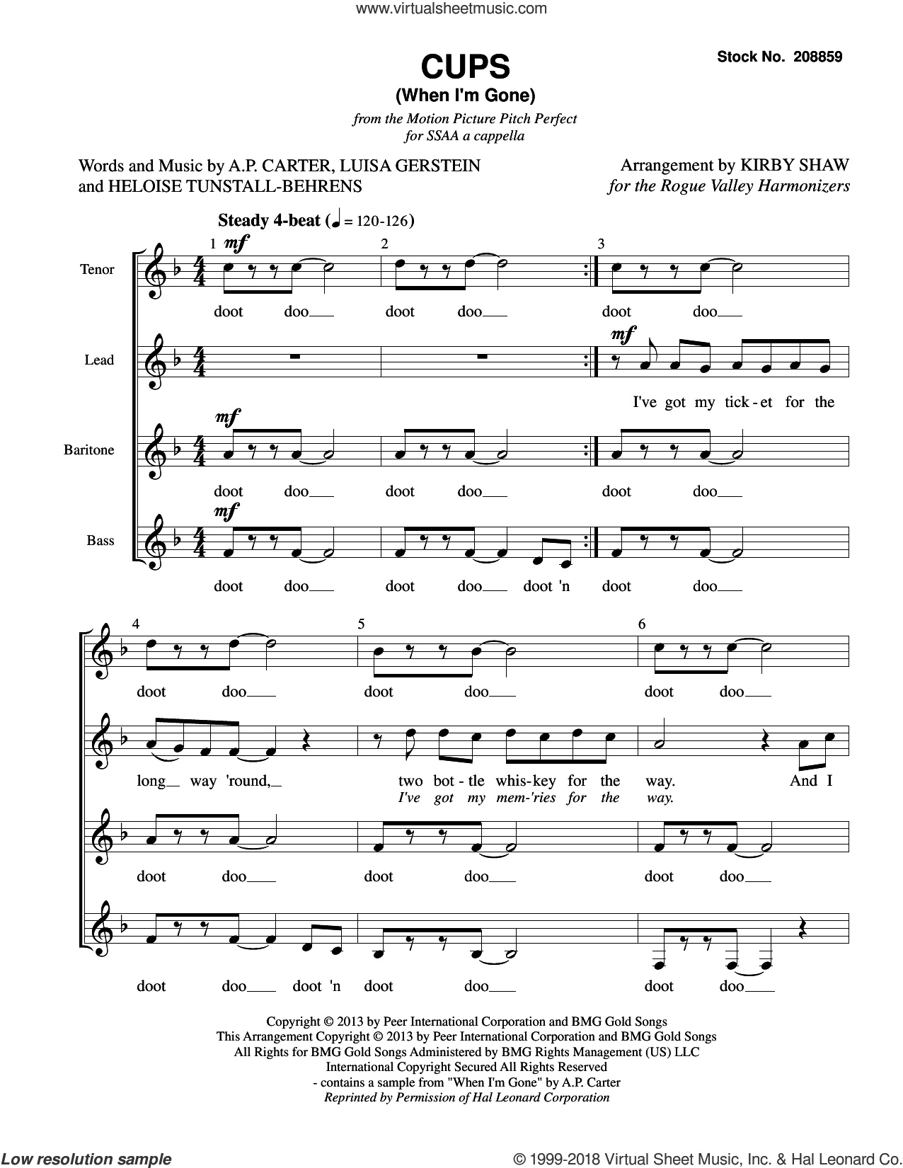 Cups (When I'm Gone) (from Pitch Perfect) (arr. Kirby Shaw) sheet music for choir (SSAA: soprano, alto) by Anna Kendrick, Kirby Shaw, A.P. Carter, Heloise Tunstall-Behrens and Luisa Gerstein, intermediate skill level