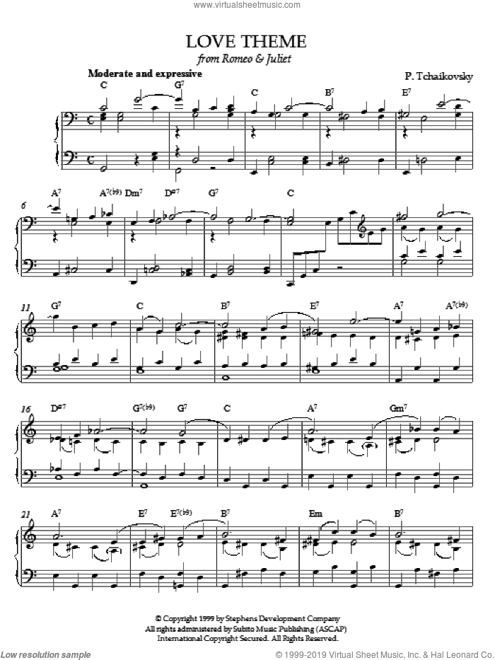 Love Theme from Romeo And Juliet sheet music for piano solo by Pyotr Ilyich Tchaikovsky. Score Image Preview.