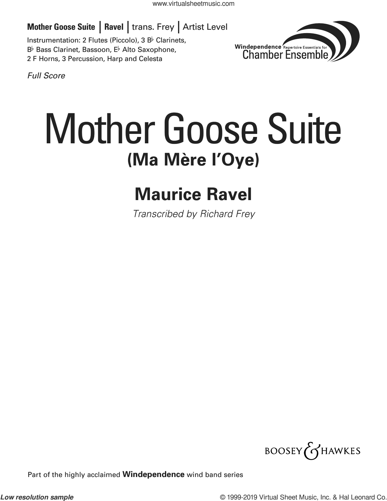 Mother Goose Suite (Ma Mere L'Oye) (arr. Richard Frey) (COMPLETE) sheet music for concert band by Maurice Ravel and Richard Frey, classical score, intermediate skill level