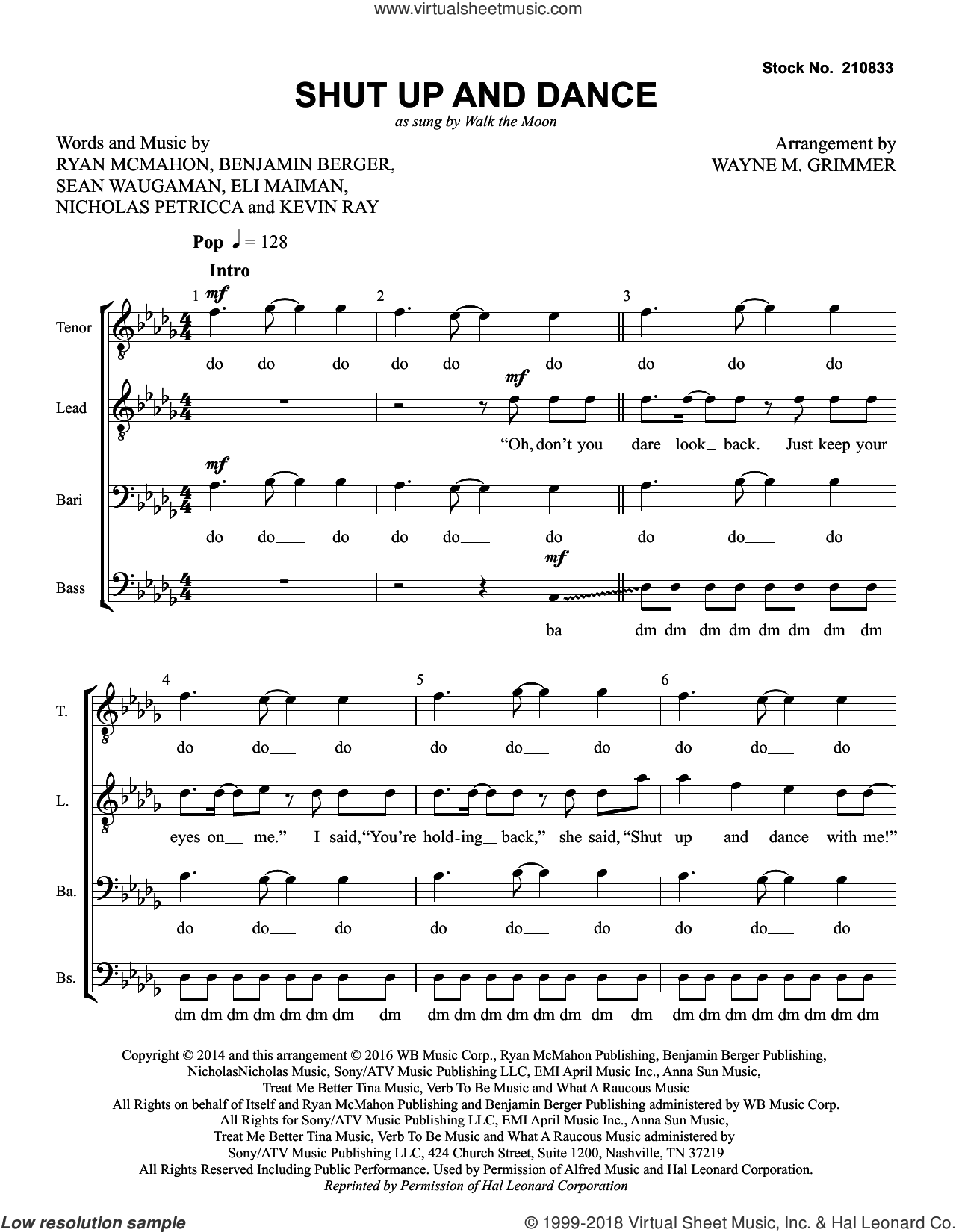Shut Up and Dance (arr. Wayne Grimmer) sheet music for choir (TTBB: tenor, bass) by Walk The Moon, Wayne Grimmer, Ben Berger, Eli Maiman, Kevin Ray, Nicholas Petricca, Ryan McMahon and Sean Waugaman, intermediate skill level