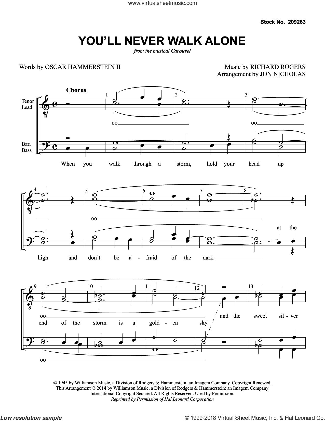 You'll Never Walk Alone (from Carousel) (arr. Jon Nicholas) sheet music for choir (TTBB: tenor, bass) by Rodgers & Hammerstein, Jon Nicholas, Oscar II Hammerstein and Richard Rodgers, intermediate skill level