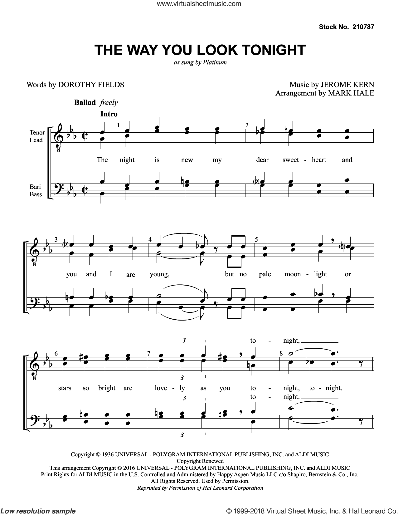 The Way You Look Tonight (arr. Mark Hale) sheet music for choir (TTBB: tenor, bass) by Platinum, Mark Hale, Dorothy Fields and Jerome Kern, intermediate skill level
