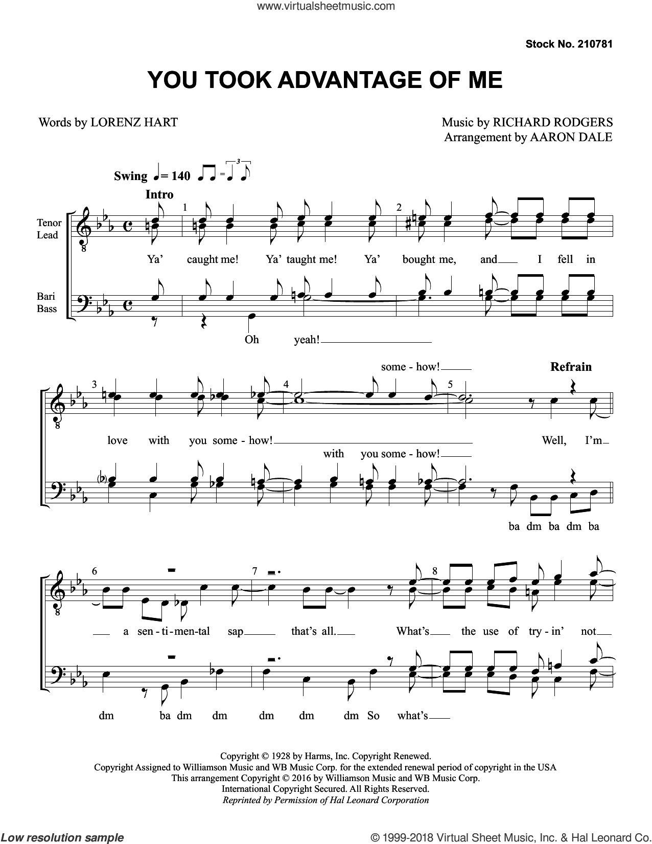 You Took Advantage of Me (arr. Aaron Dale) sheet music for choir (TTBB: tenor, bass) by Rodgers & Hart, Aaron Dale, Lorenz Hart and Richard Rodgers, intermediate skill level