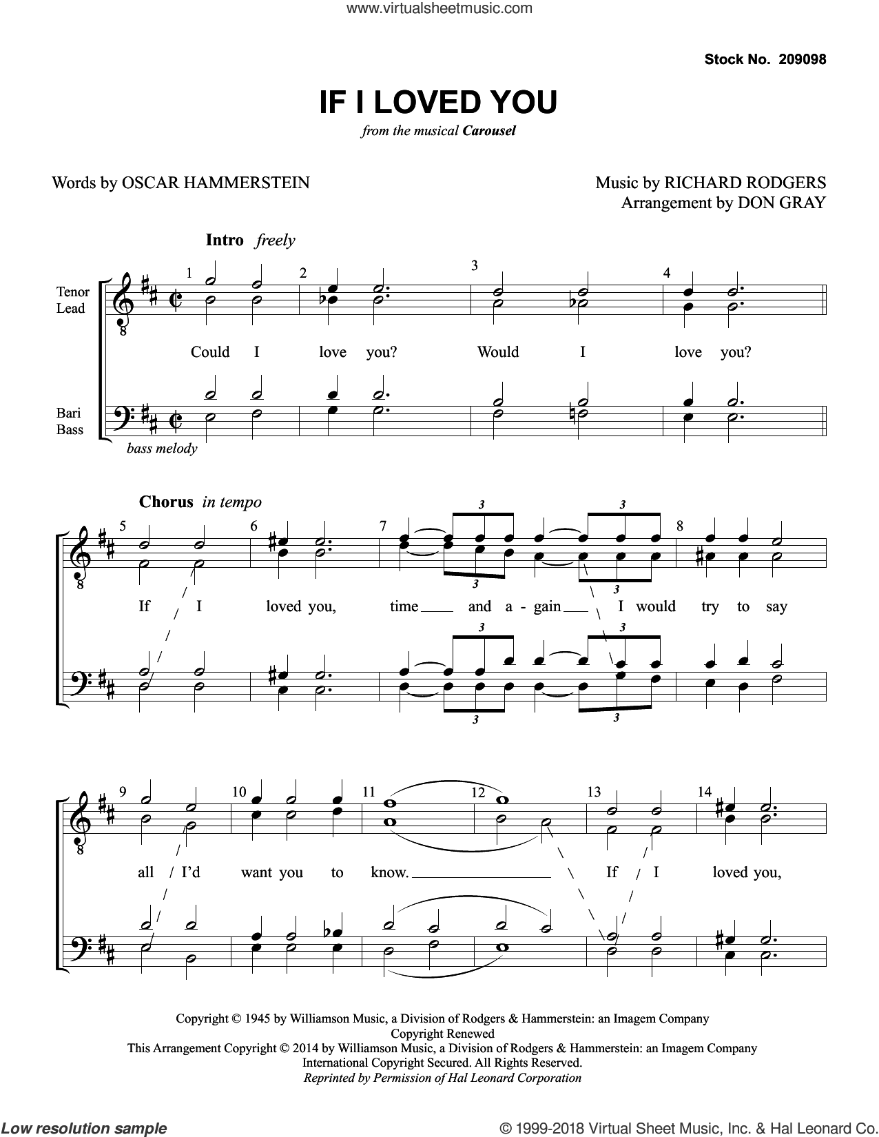 If I Loved You (from Carousel) (arr. Don Gray) sheet music for choir (TTBB: tenor, bass) by Rodgers & Hammerstein, Don Gray, Oscar II Hammerstein and Richard Rodgers, intermediate skill level
