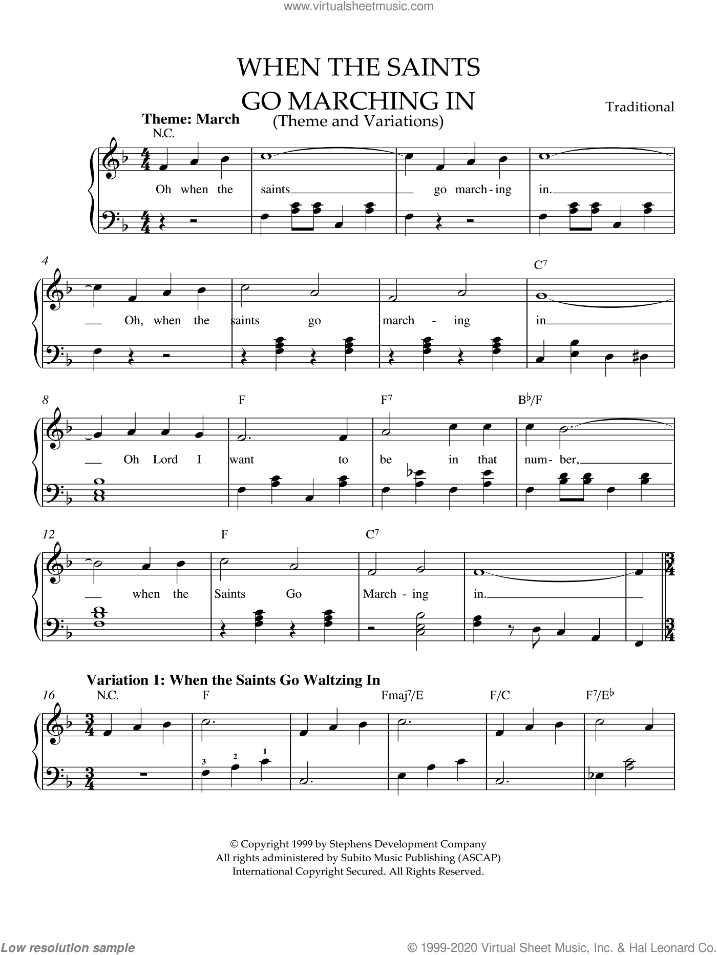 When The Saints Go Marching In (Theme and Variations) sheet music for piano solo, easy piano. Score Image Preview.