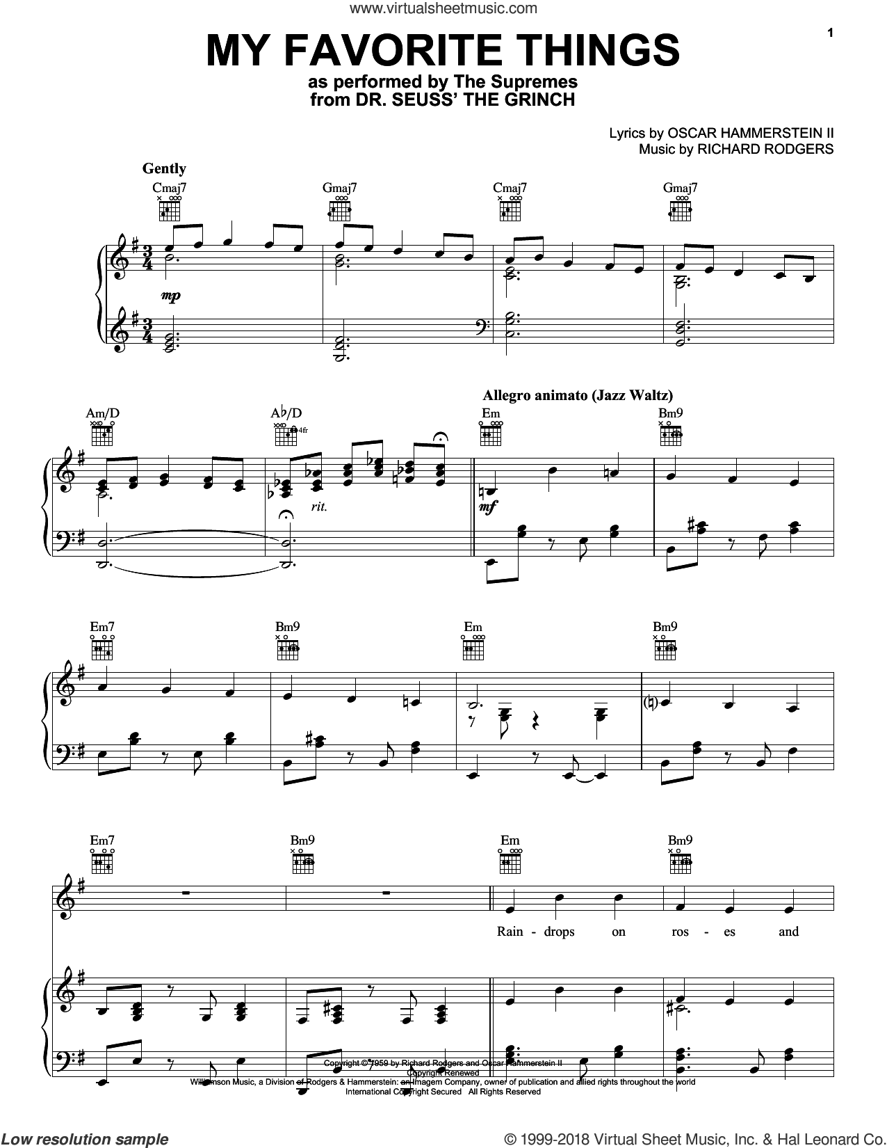 My Favorite Things (from The Grinch) sheet music for voice, piano or guitar by The Supremes, Chicago, Lorrie Morgan, Danny Elfman, Tyler, The Creator, Oscar II Hammerstein and Richard Rodgers, intermediate skill level