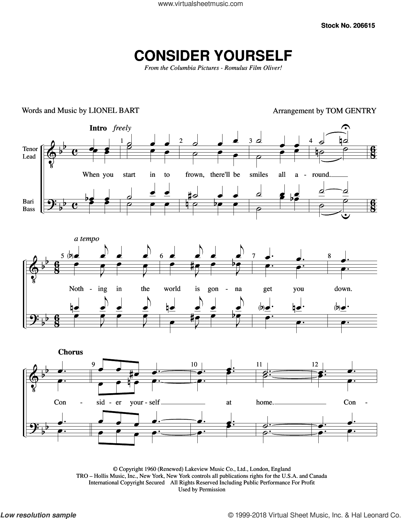 Consider Yourself (from Oliver) (arr. Tom Gentry) sheet music for choir (TTBB: tenor, bass) by Lionel Bart and Tom Gentry, intermediate skill level