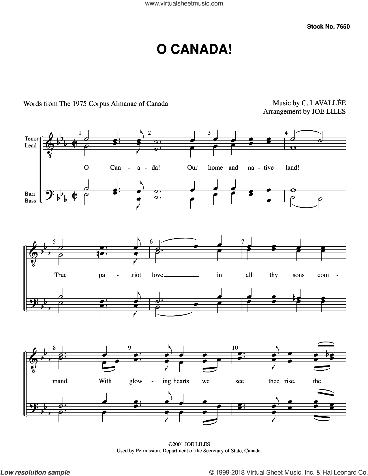 O Canada! (arr. Joe Liles) sheet music for choir (TTBB: tenor, bass) by Calixa Lavallee, Joe Liles, Calixa Lavallee and Justice R.S. Weir, intermediate skill level