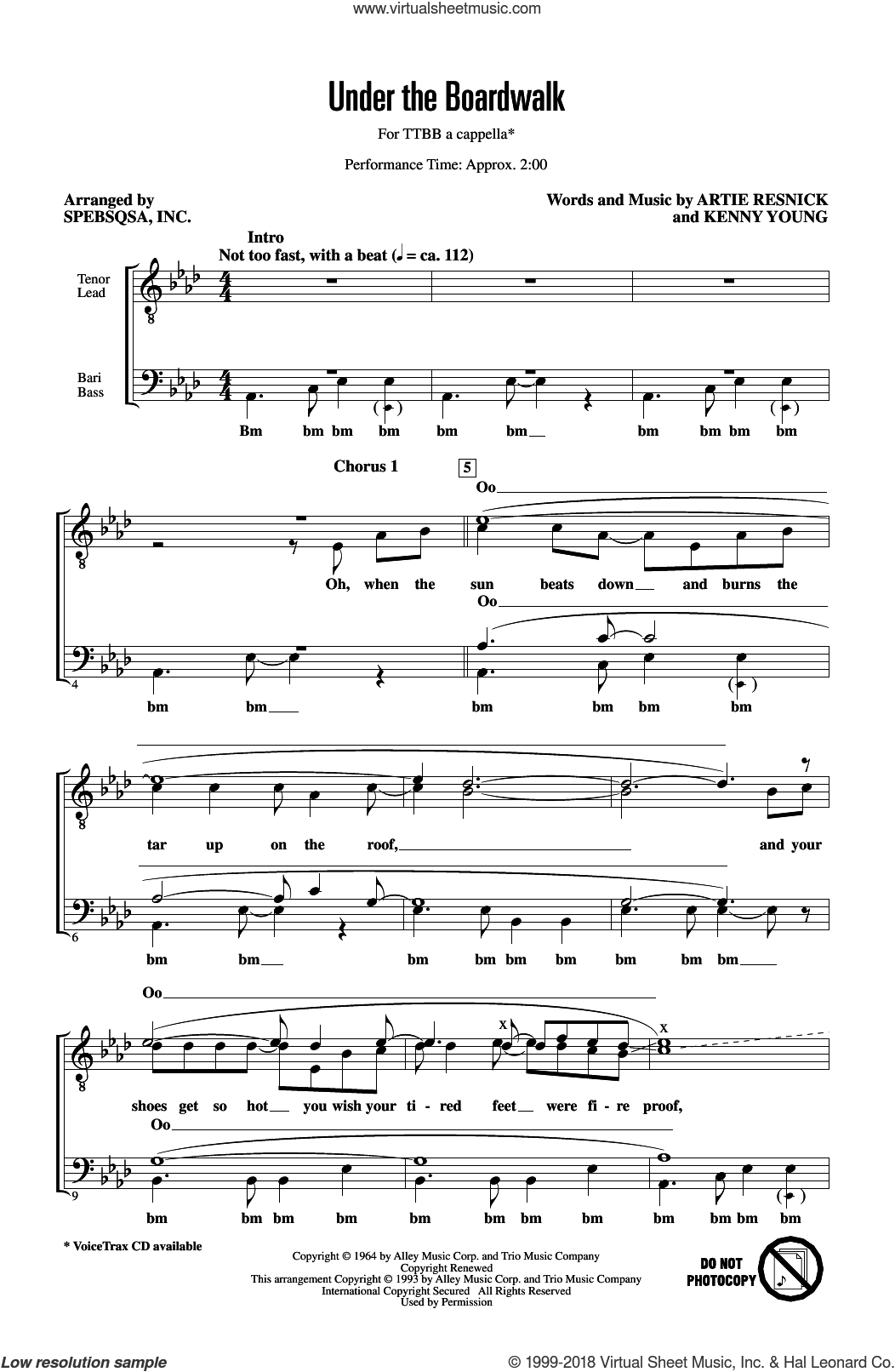Under The Boardwalk (arr. SPEBSQSA, Inc.) sheet music for choir (TTBB: tenor, bass) by The Drifters, SPEBSQSA, Inc., Artie Resnick and Kenny Young, intermediate skill level