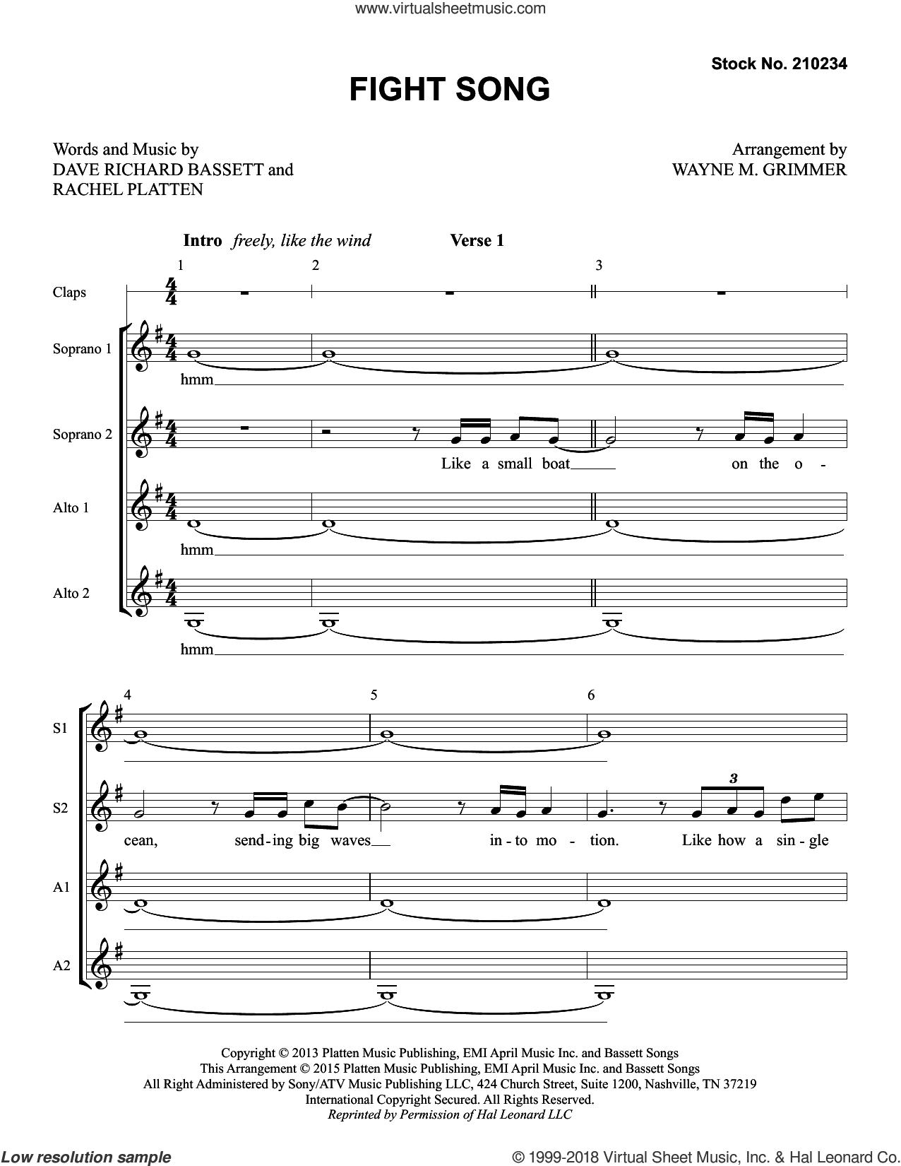 Fight Song (arr. Wayne Grimmer) sheet music for choir (SSAA: soprano, alto) by Rachel Platten, Wayne Grimmer and Dave Bassett, intermediate skill level