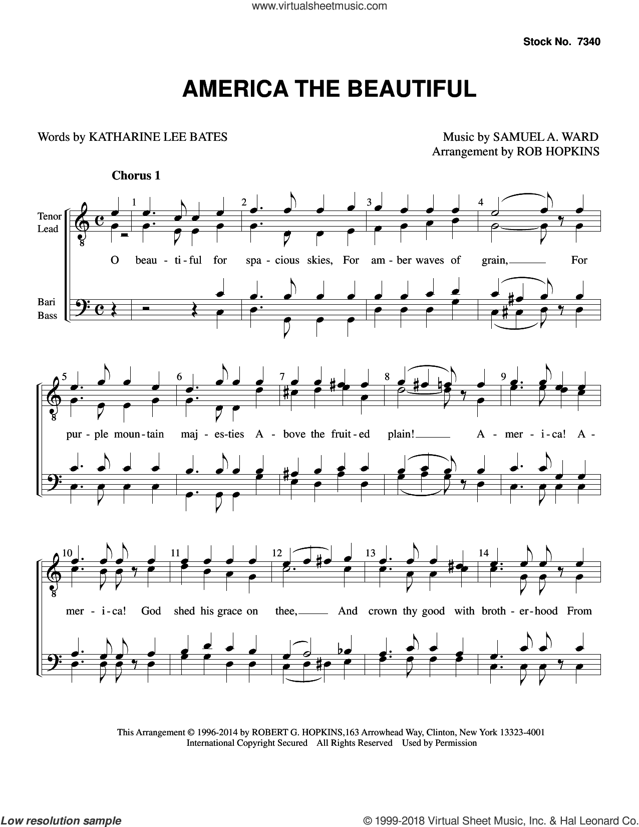America, the Beautiful (arr. Rob Hopkins) sheet music for choir (TTBB: tenor, bass) by Samuel Augustus Ward, Rob Hopkins and Katherine Lee Bates, intermediate skill level