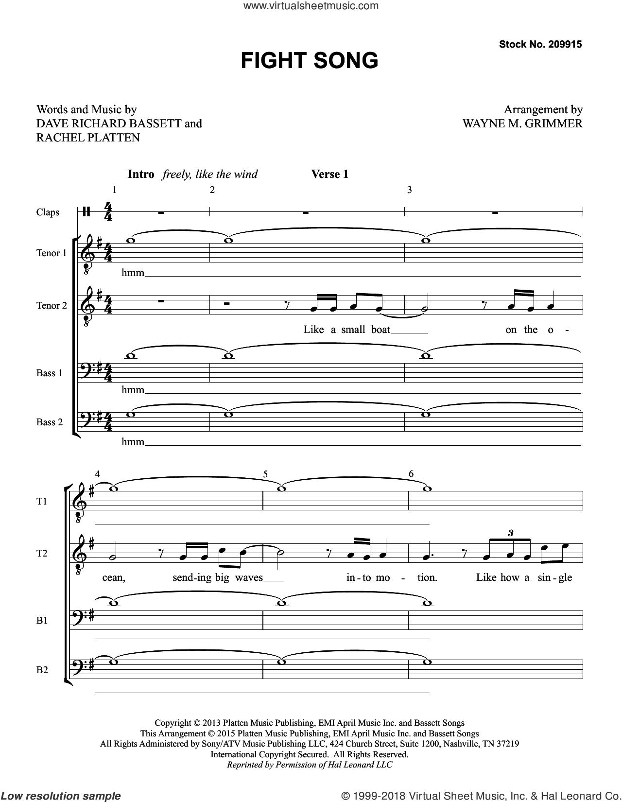 Fight Song (arr. Wayne Grimmer) sheet music for choir (TTBB: tenor, bass) by Rachel Platten, Wayne Grimmer and Dave Bassett, intermediate skill level