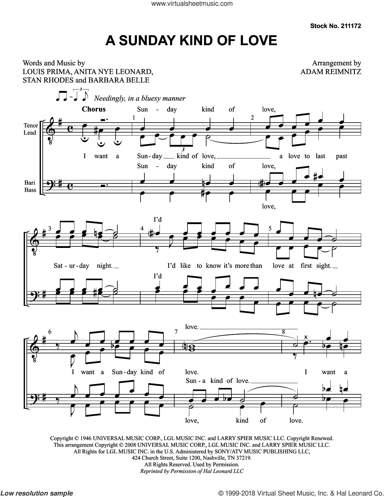 A Sunday Kind of Love (arr. Adam Reimnitz) sheet music for choir (TTBB: tenor, bass) by Etta James, Adam Reimnitz, Anita Nye Leonard, Barbara Belle, Louis Prima and Stanley Rhodes, intermediate skill level