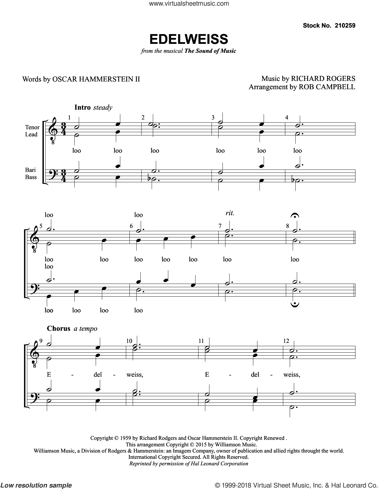 Edelweiss (from The Sound of Music) (arr. Rob Campbell) sheet music for choir (TTBB: tenor, bass) by Christopher Plummer, Rob Campbell, Oscar II Hammerstein and Richard Rodgers, intermediate skill level