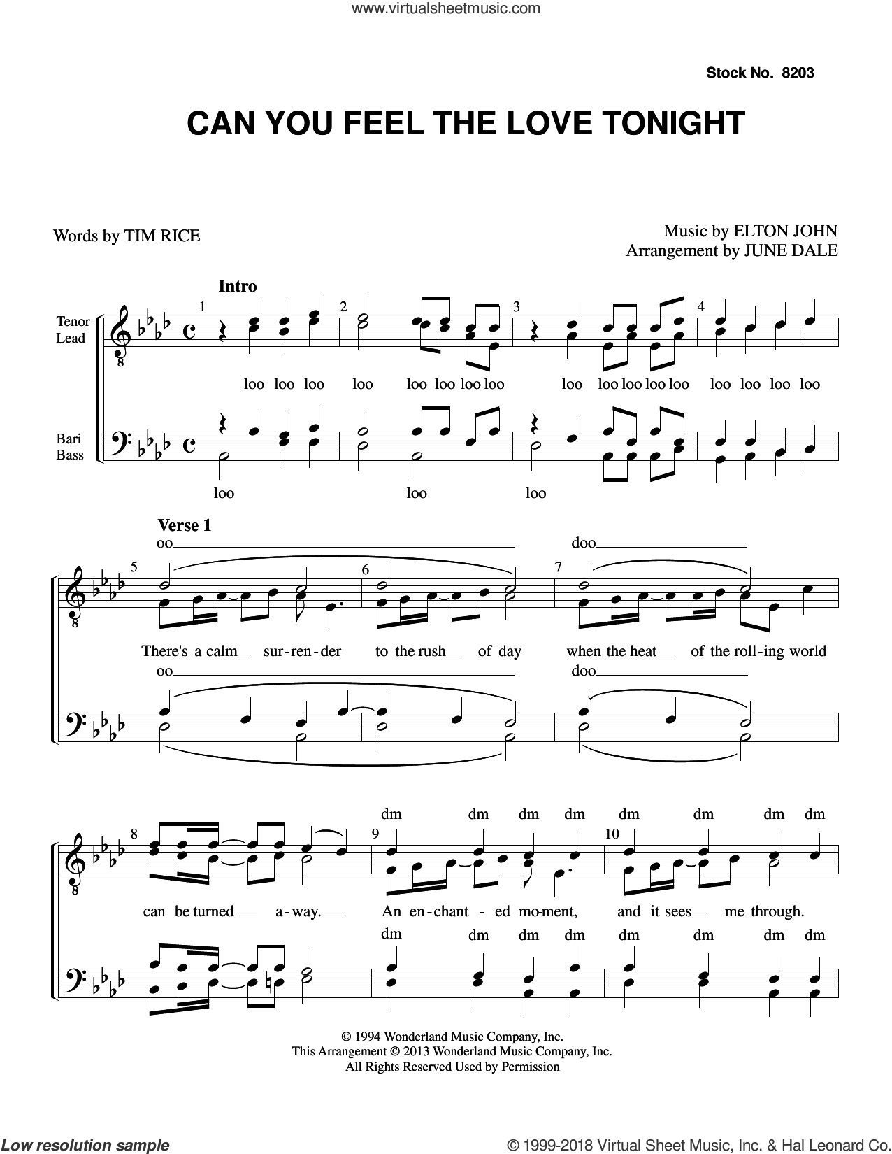 Can You Feel the Love Tonight (from The Lion King) (arr. June Dale) sheet music for choir (TTBB: tenor, bass) by Elton John, June Dale and Tim Rice, intermediate skill level