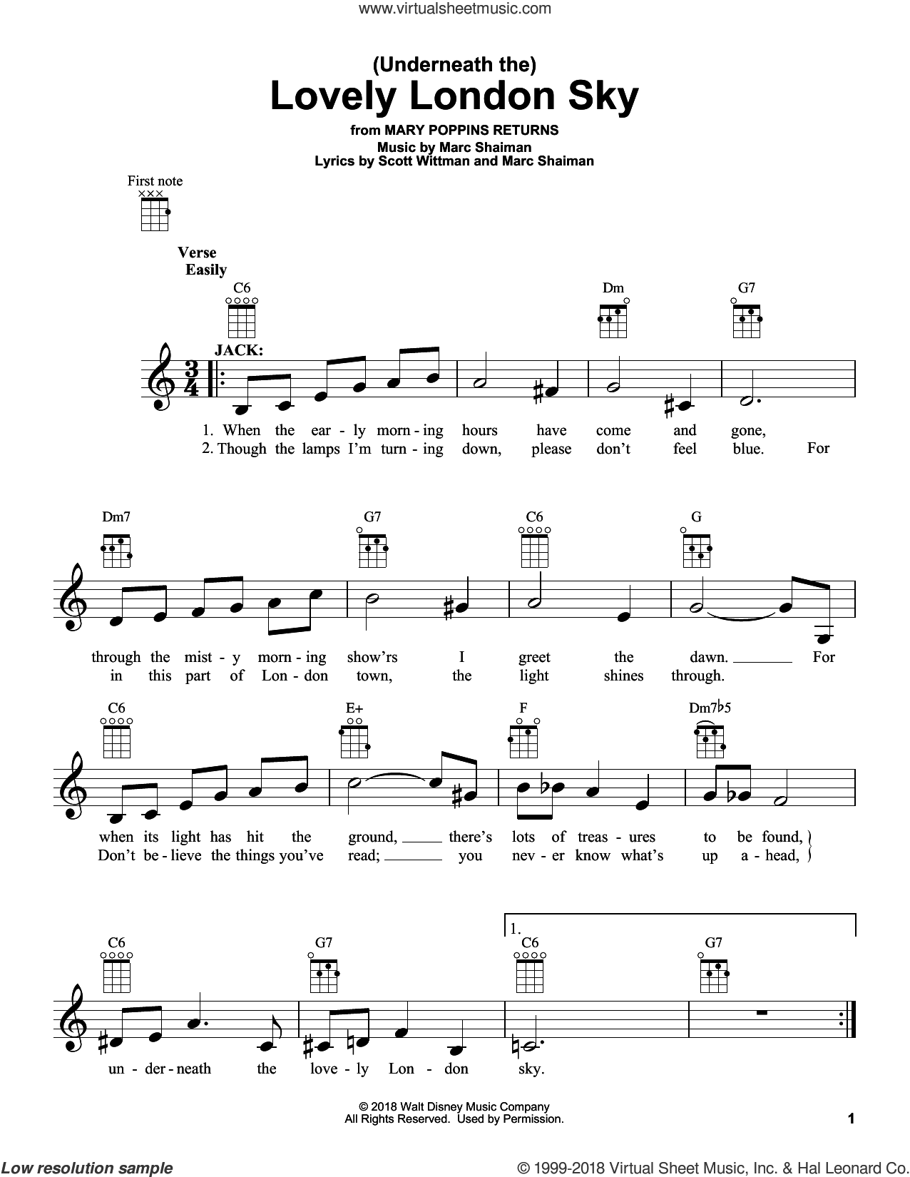 (Underneath The) Lovely London Sky (from Mary Poppins Returns) sheet music for ukulele by Lin-Manuel Miranda, Marc Shaiman and Scott Wittman, intermediate skill level