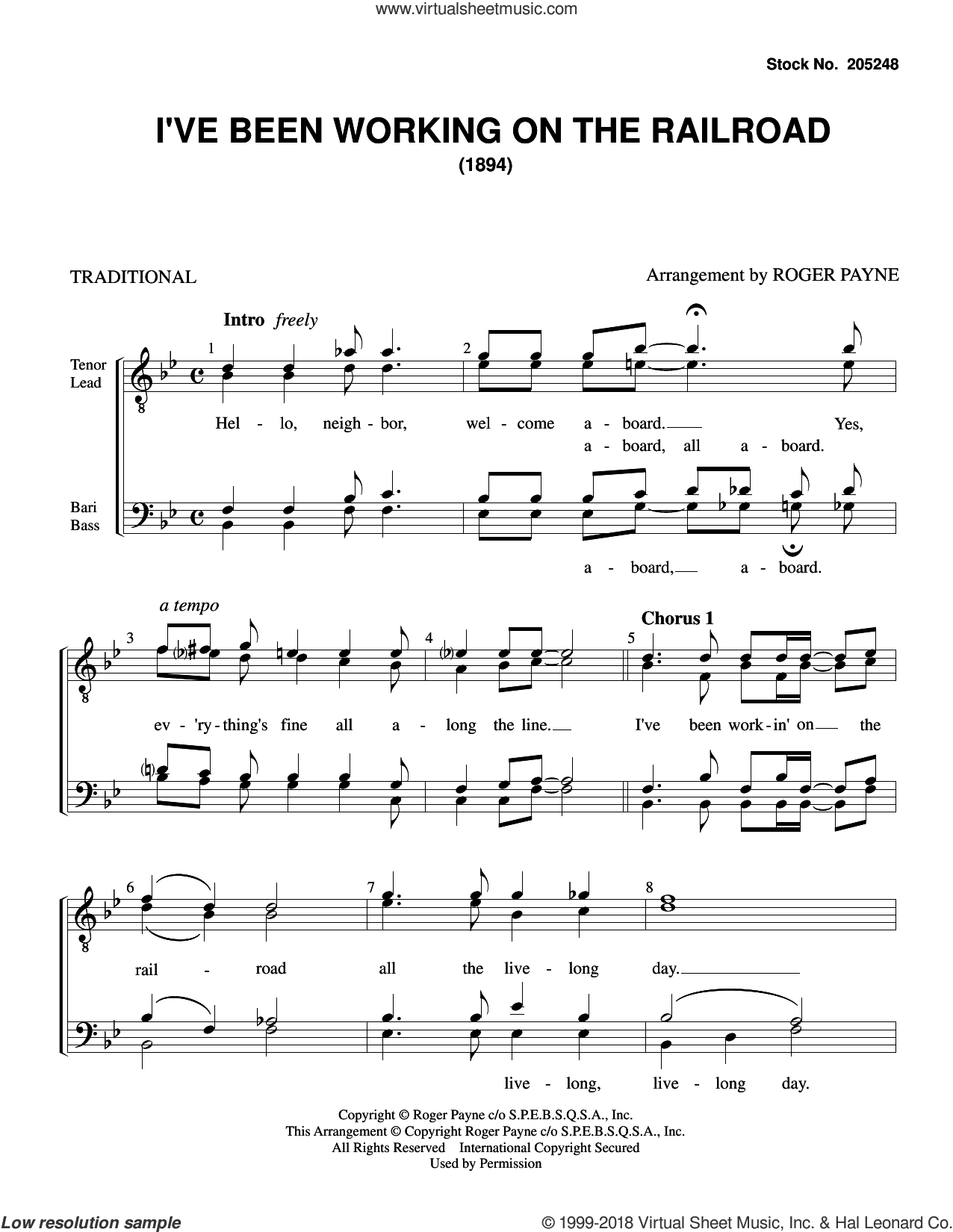I've Been Working on the Railroad (arr. Roger Payne) sheet music for choir (TTBB: tenor, bass) by American Folksong and Roger Payne, intermediate skill level