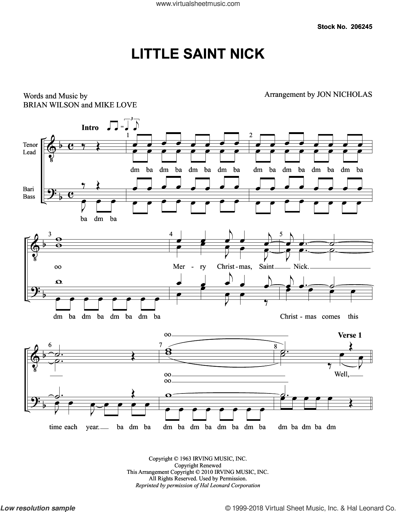 Little Saint Nick (arr. Jon Nicholas) sheet music for choir (TTBB: tenor, bass) by The Beach Boys, Jon Nicholas, Brian Wilson and Mike Love, intermediate skill level