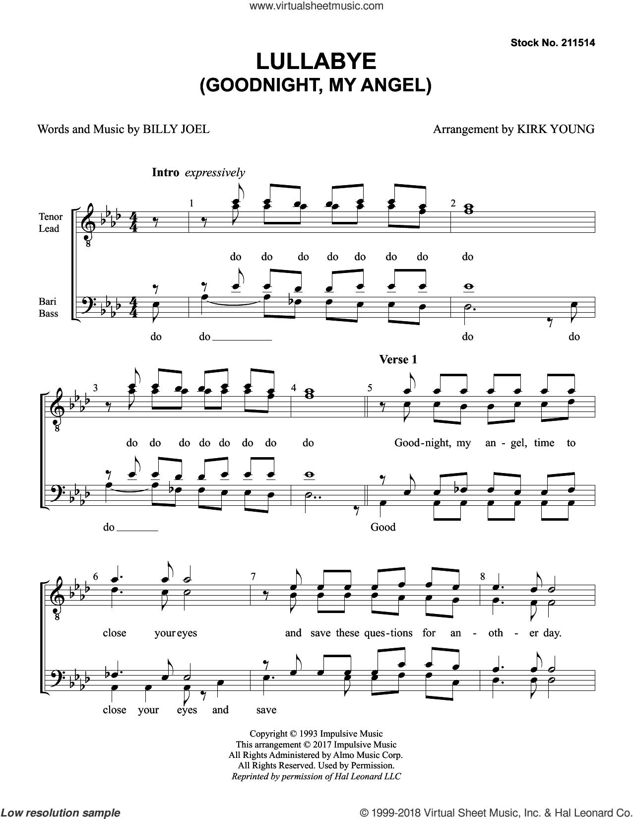 Lullaby (Goodnight My Angel) (arr. Kirk Young) sheet music for choir (TTBB: tenor, bass) by Billy Joel, intermediate skill level