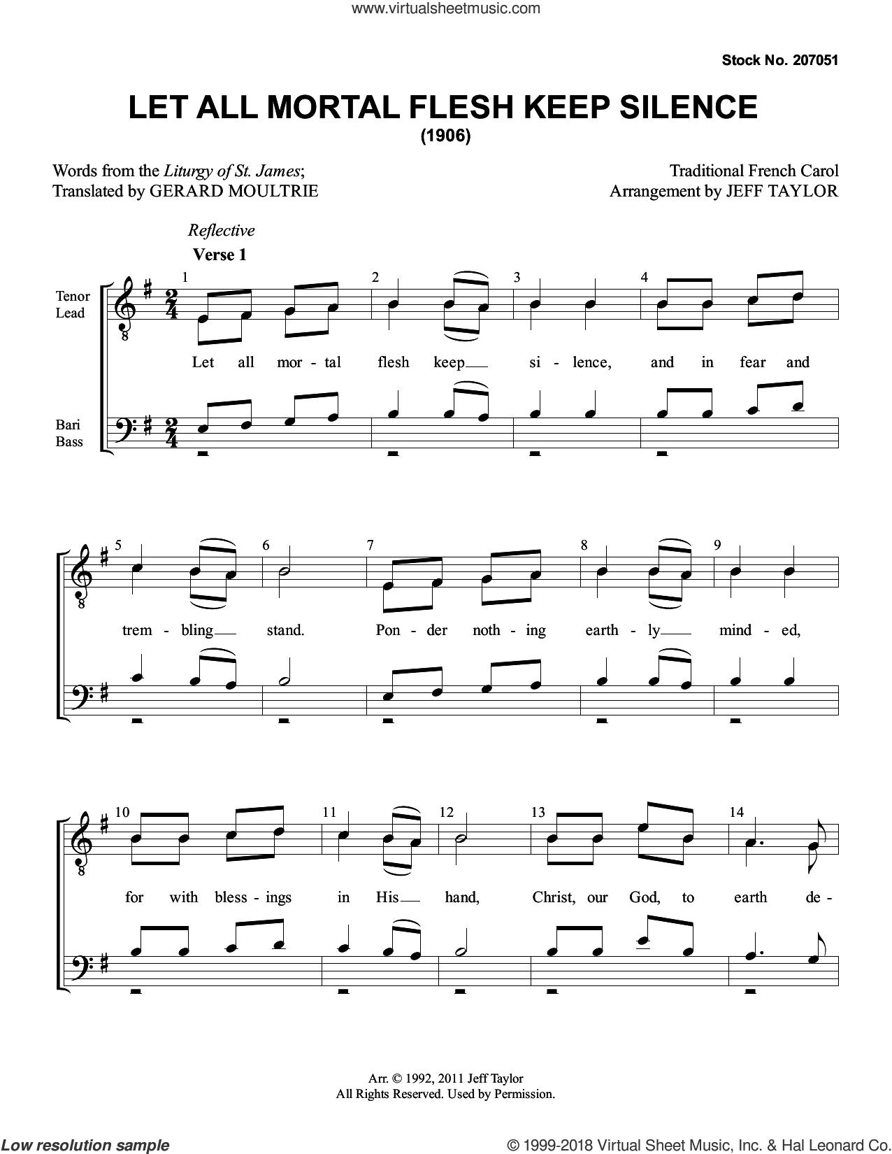 Let All Mortal Flesh Keep Silence (arr. Jeff Taylor) sheet music for choir (TTBB: tenor, bass) by Anonymous, Jeff Taylor and Miscellaneous, intermediate skill level