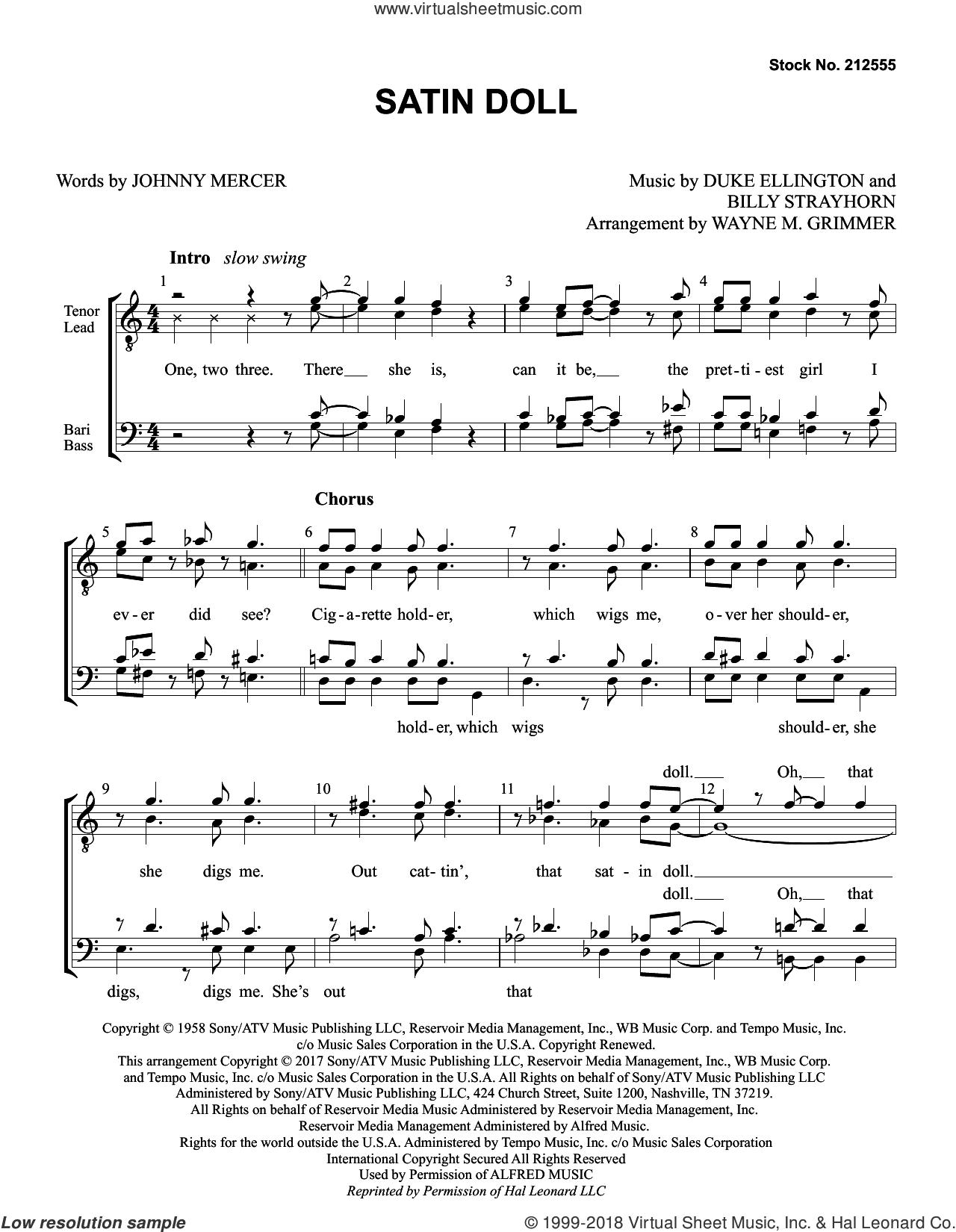 Satin Doll (arr. Wayne Grimmer) sheet music for choir (TTBB: tenor, bass) by Johnny Mercer, Wayne Grimmer, Billy Strayhorn and Duke Ellington, intermediate skill level