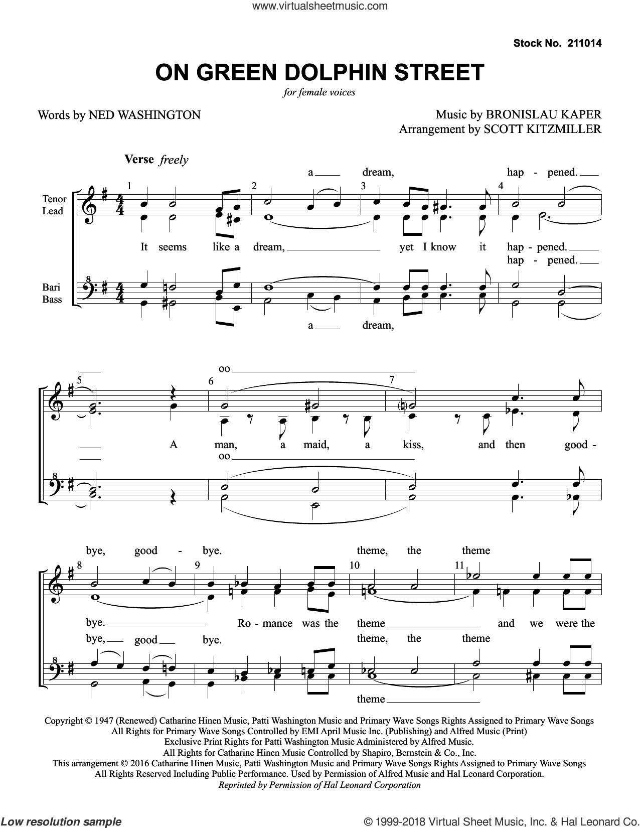 On Green Dolphin Street (arr. Scott Kitzmiller) sheet music for choir (SSAA: soprano, alto) by Jimmy Dorsey Orchestra, Scott Kitzmiller, Bronislau Kaper and Ned Washington, intermediate skill level