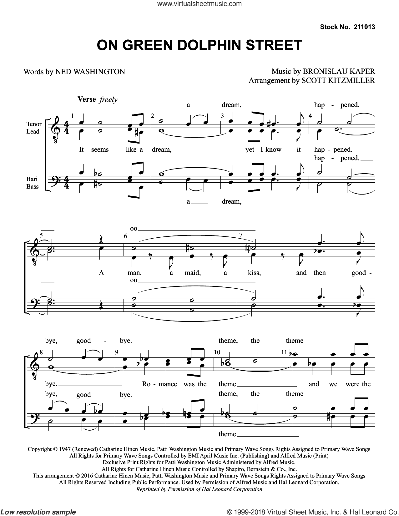 On Green Dolphin Street (arr. Scott Kitzmiller) sheet music for choir (TTBB: tenor, bass) by Jimmy Dorsey Orchestra, Scott Kitzmiller, Bronislau Kaper and Ned Washington, intermediate skill level