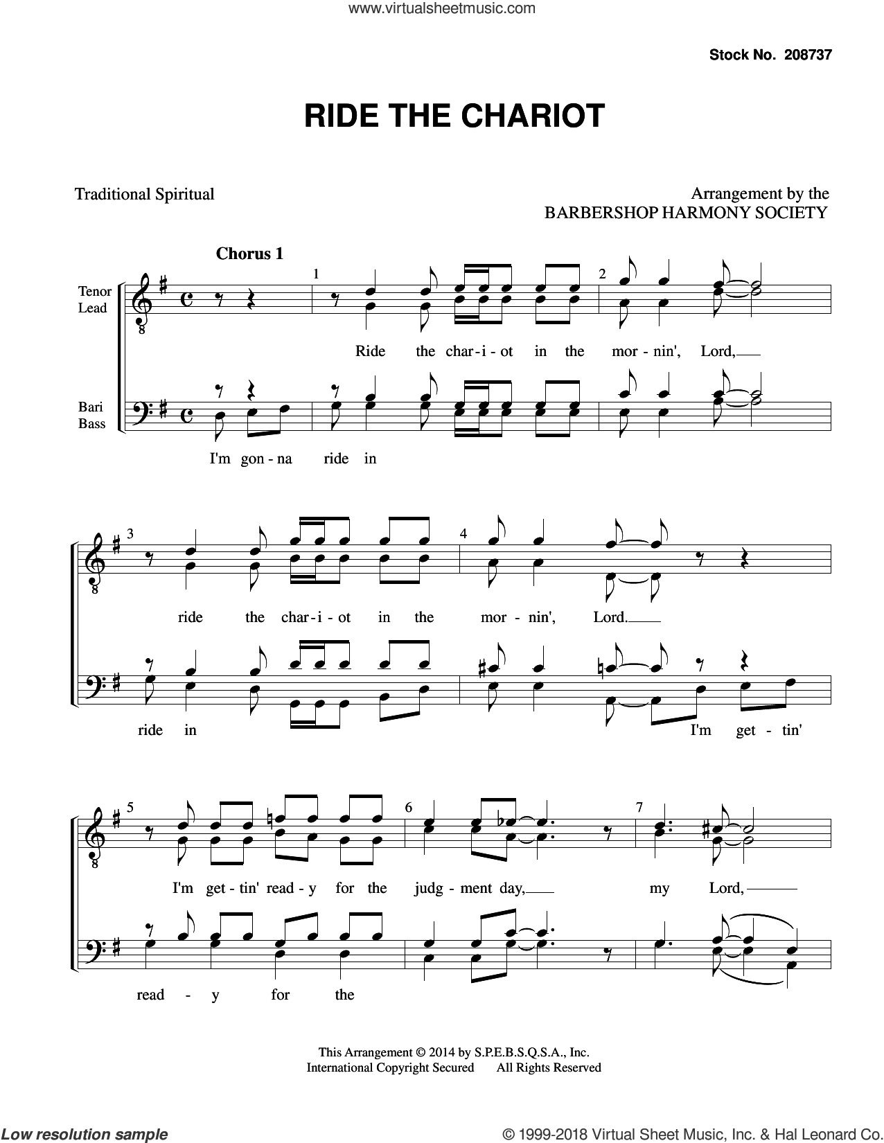Ride the Chariot (arr. Barbershop Harmony Society) sheet music for choir (TTBB: tenor, bass)  and Barbershop Harmony Society, intermediate skill level
