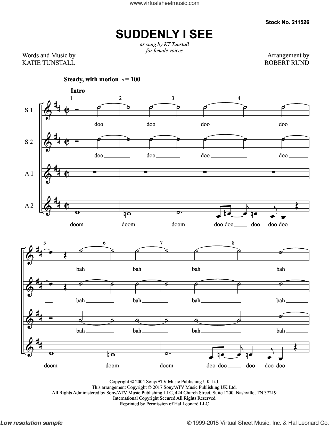 Suddenly I See (arr. Robert Rund) sheet music for choir (SSAA: soprano, alto) by KT Tunstall and Robert Rund, intermediate skill level