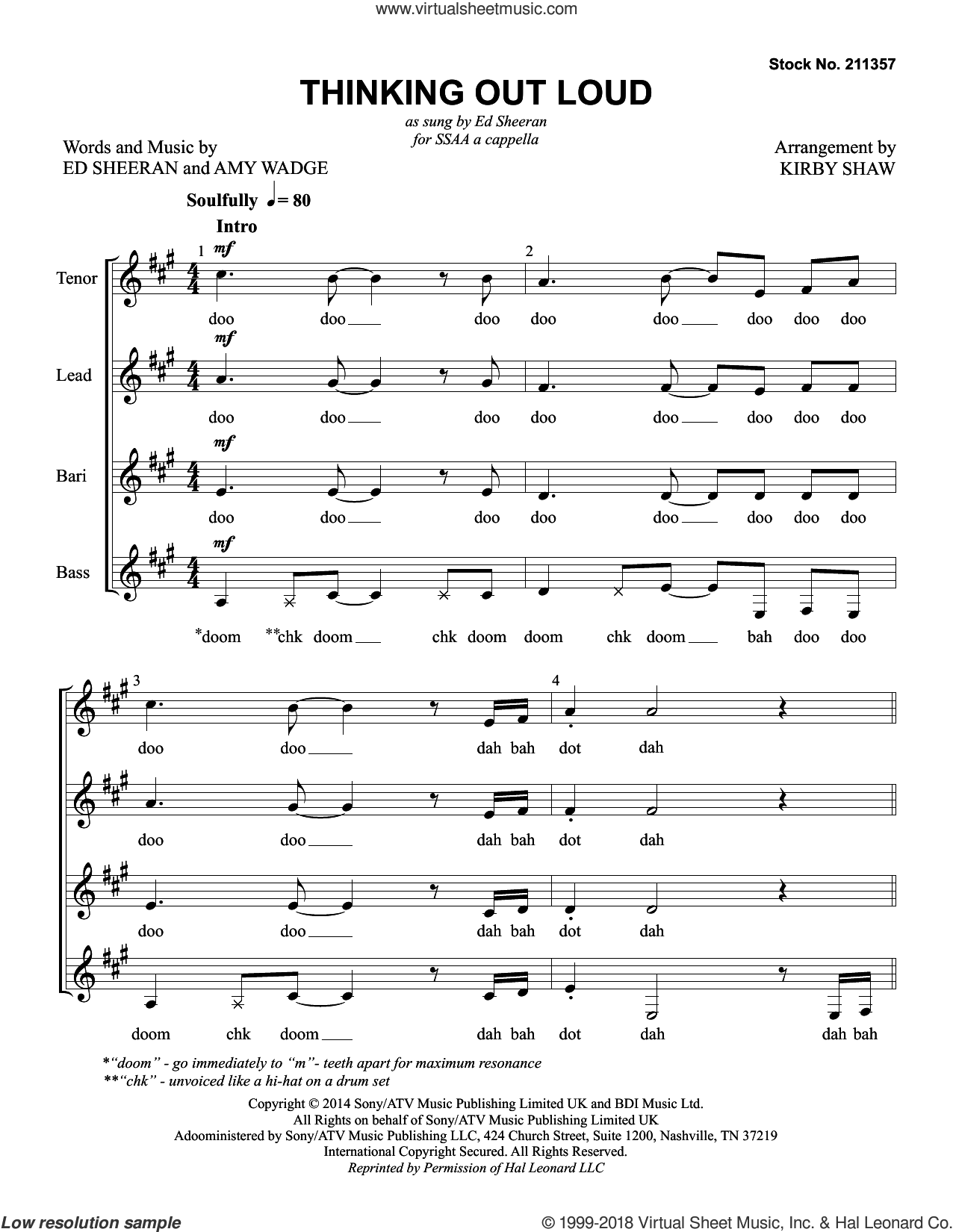 Thinking Out Loud (arr. Kirby Shaw) sheet music for choir (SSAA: soprano, alto) by Ed Sheeran, Kirby Shaw and Amy Wadge, intermediate skill level