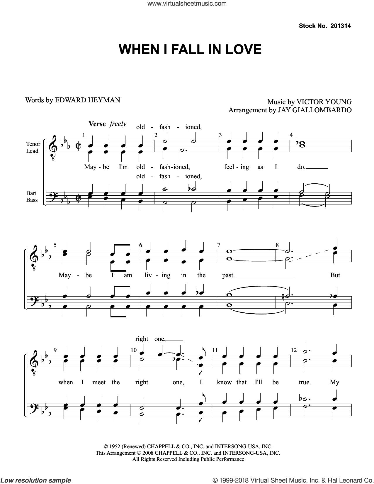 When I Fall In Love (arr. Jay Giallombardo) sheet music for choir (TTBB: tenor, bass) by Doris Day, Jay Giallombardo, Carpenters, Edward Heyman and Victor Young, intermediate skill level