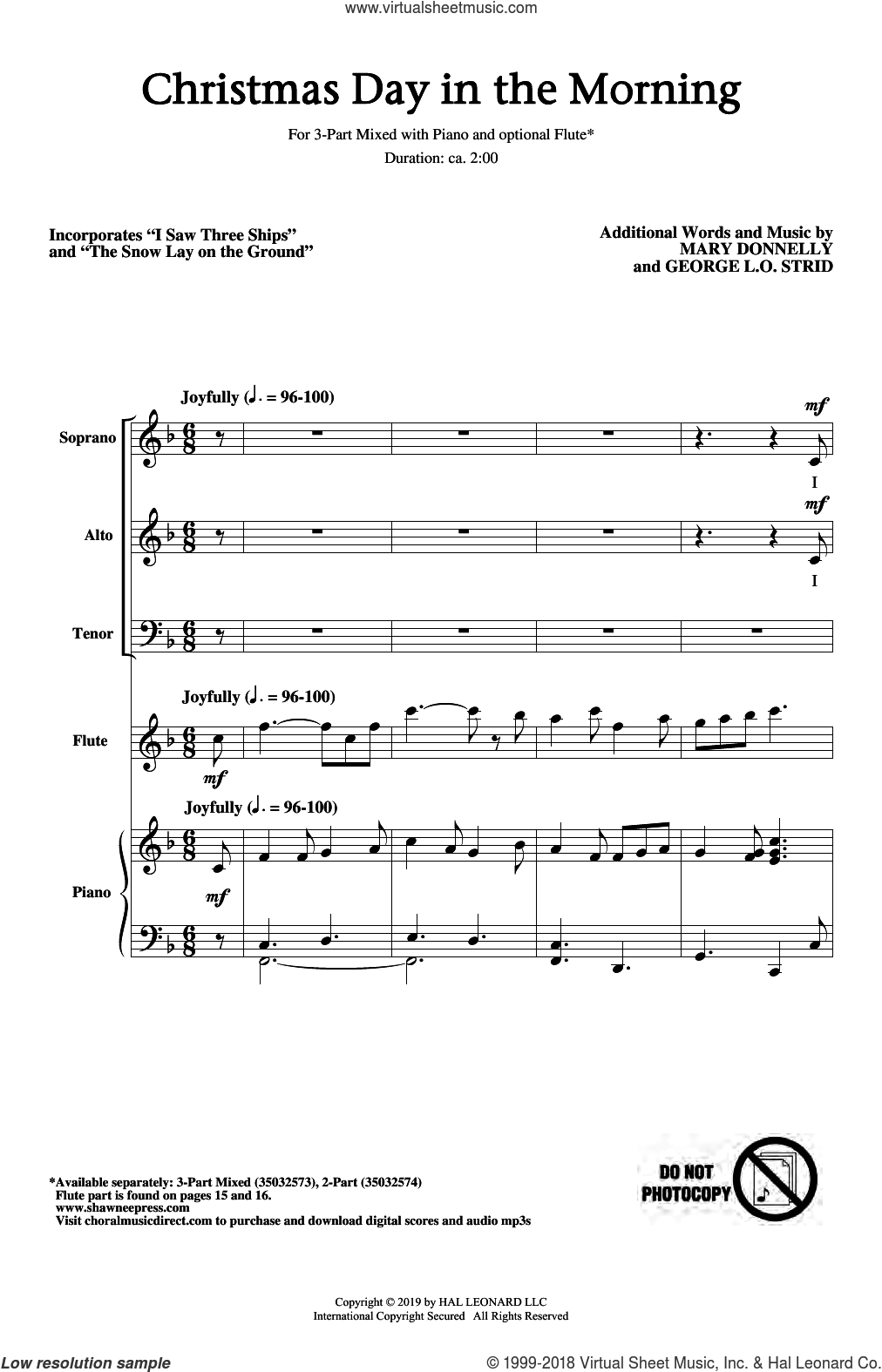 Christmas Day In The Morning sheet music for choir (3-Part Mixed) by Mary Donnelly and George L.O. Strid, intermediate skill level