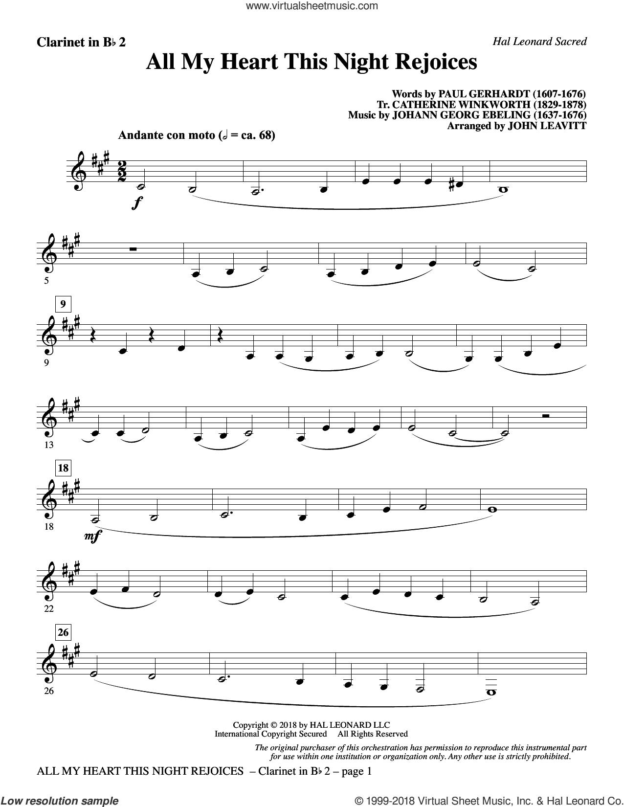 All My Heart This Night Rejoices (arr. John Leavitt) sheet music for orchestra/band (Bb clarinet 2) by Catherine Winkworth, John Leavitt, Johann Georg Ebeling and Paul Gerhardt, intermediate skill level