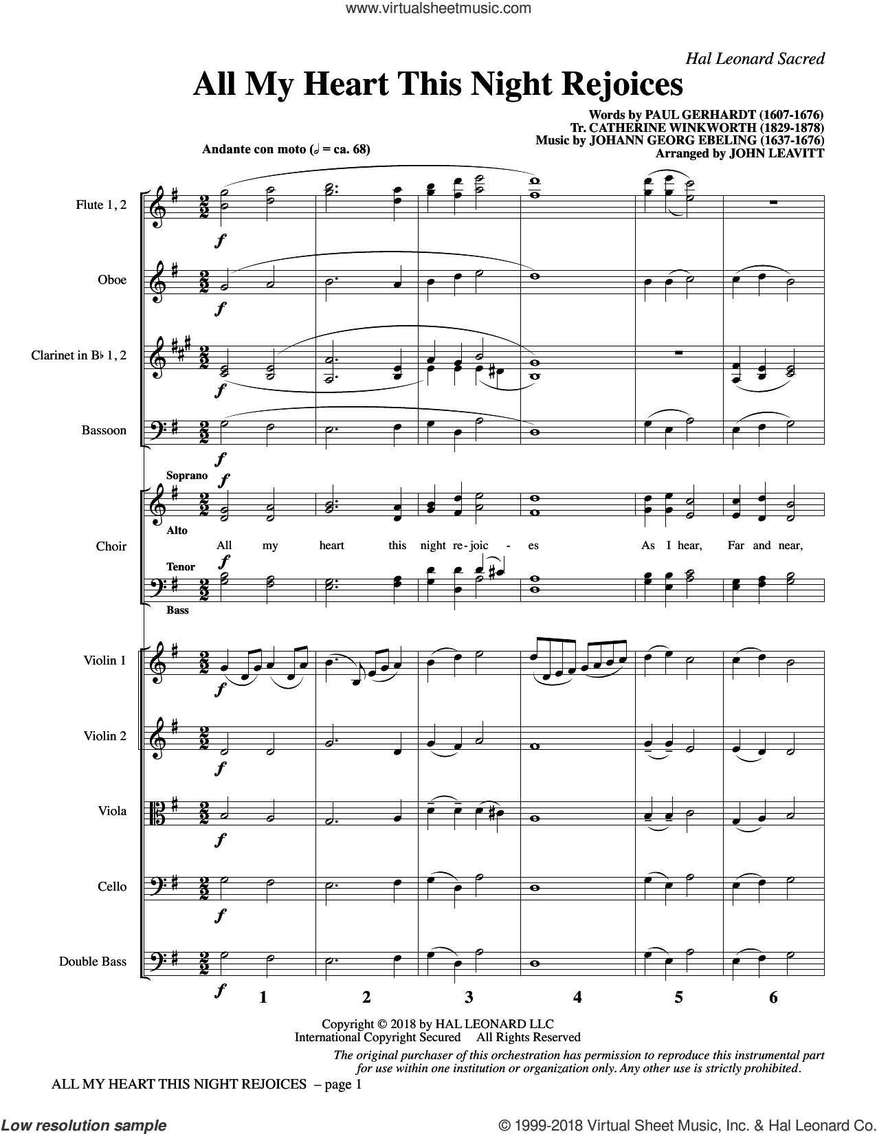 All My Heart This Night Rejoices (COMPLETE) sheet music for orchestra/band by John Leavitt, Catherine Winkworth, Johann Georg Ebeling and Paul Gerhardt, intermediate skill level