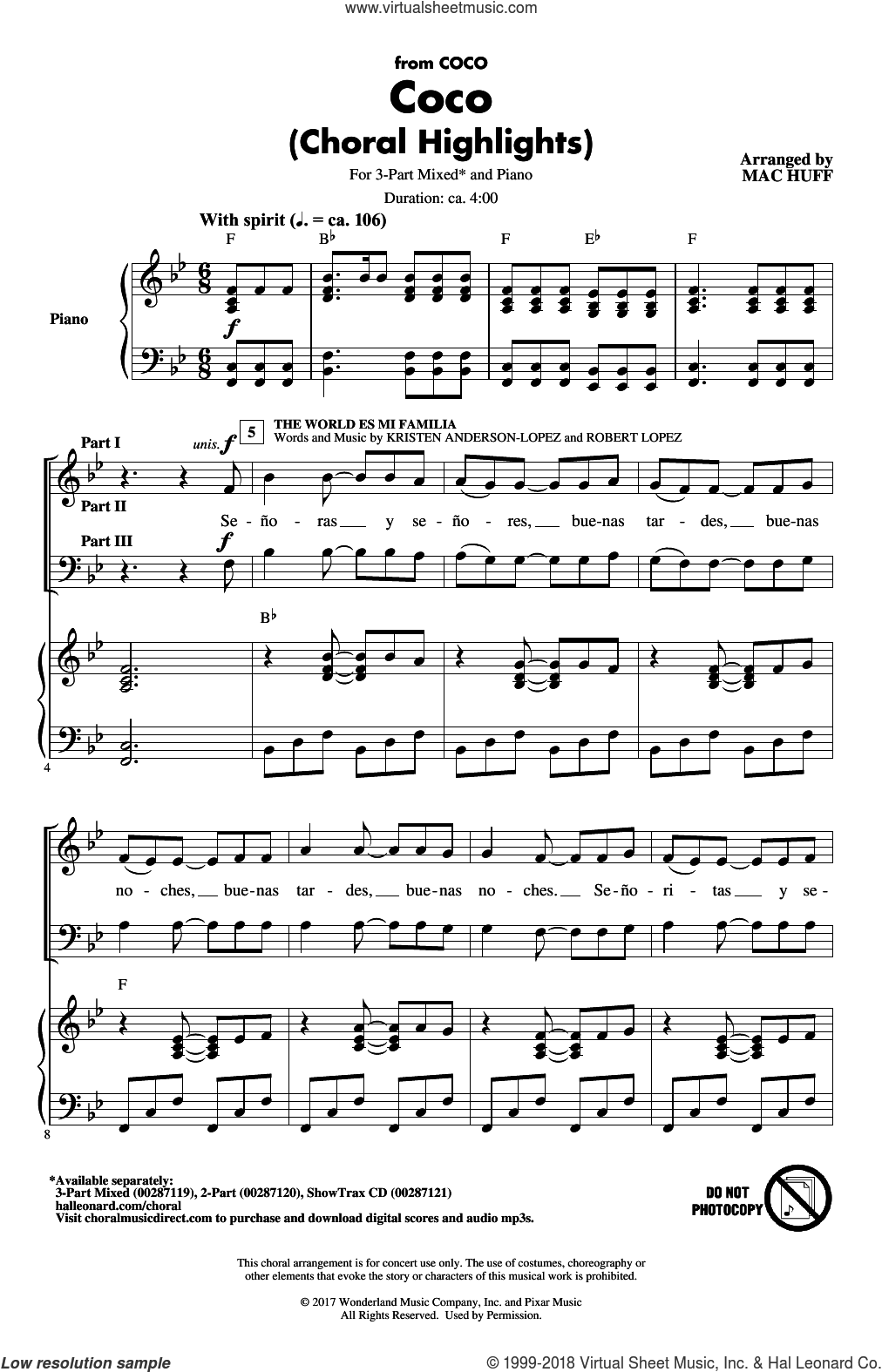 Coco (Choral Highlights) sheet music for choir (3-Part Mixed) by Germaine Franco, Mac Huff and Adrian Molina, intermediate skill level
