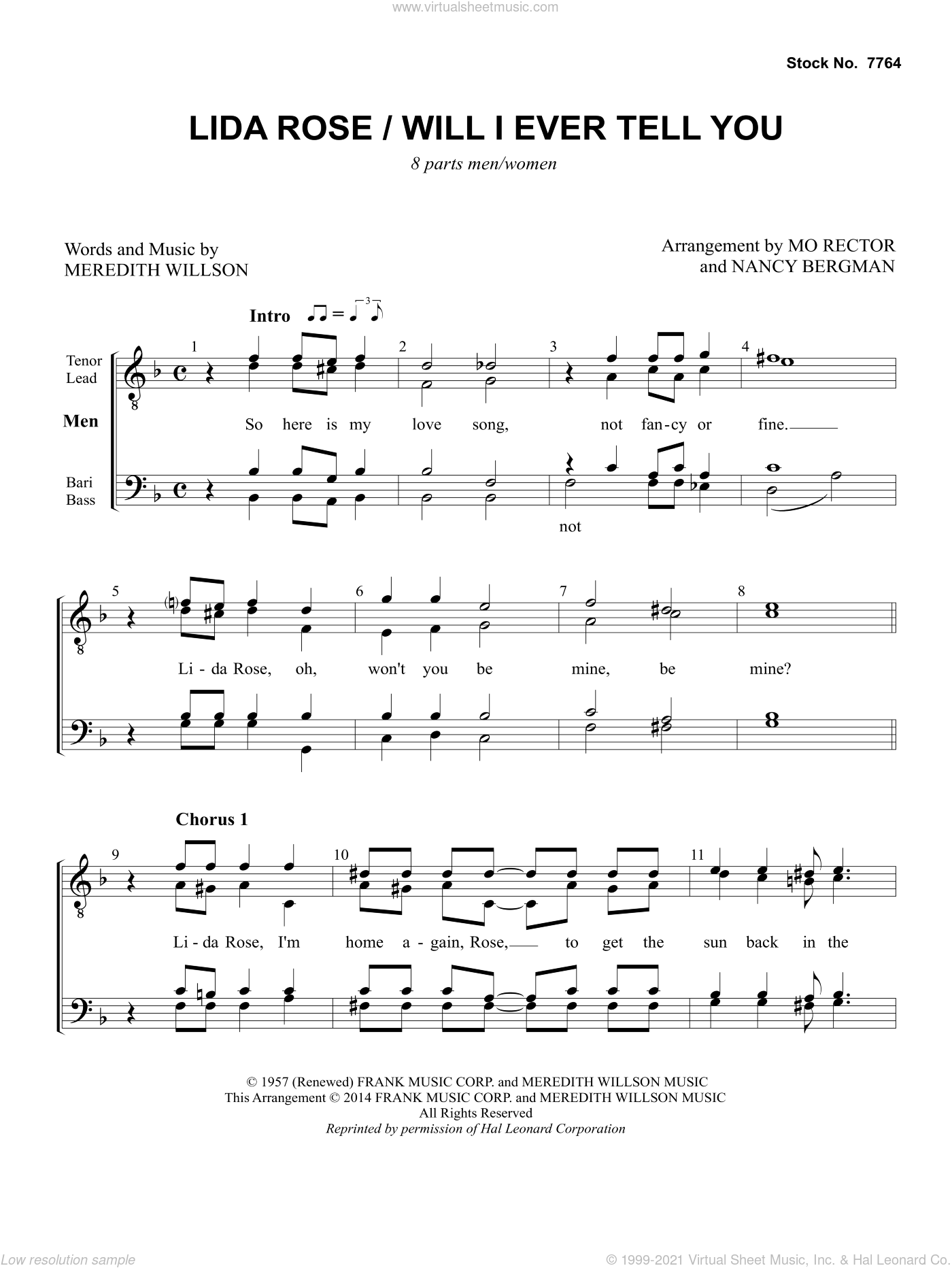 Lida Rose/Will I Ever Tell You (from The Music Man) (arr. Nancy Bergman, Mo Rector) sheet music for choir by Meredith Willson, Mo Rector and Nancy Bergman, intermediate skill level