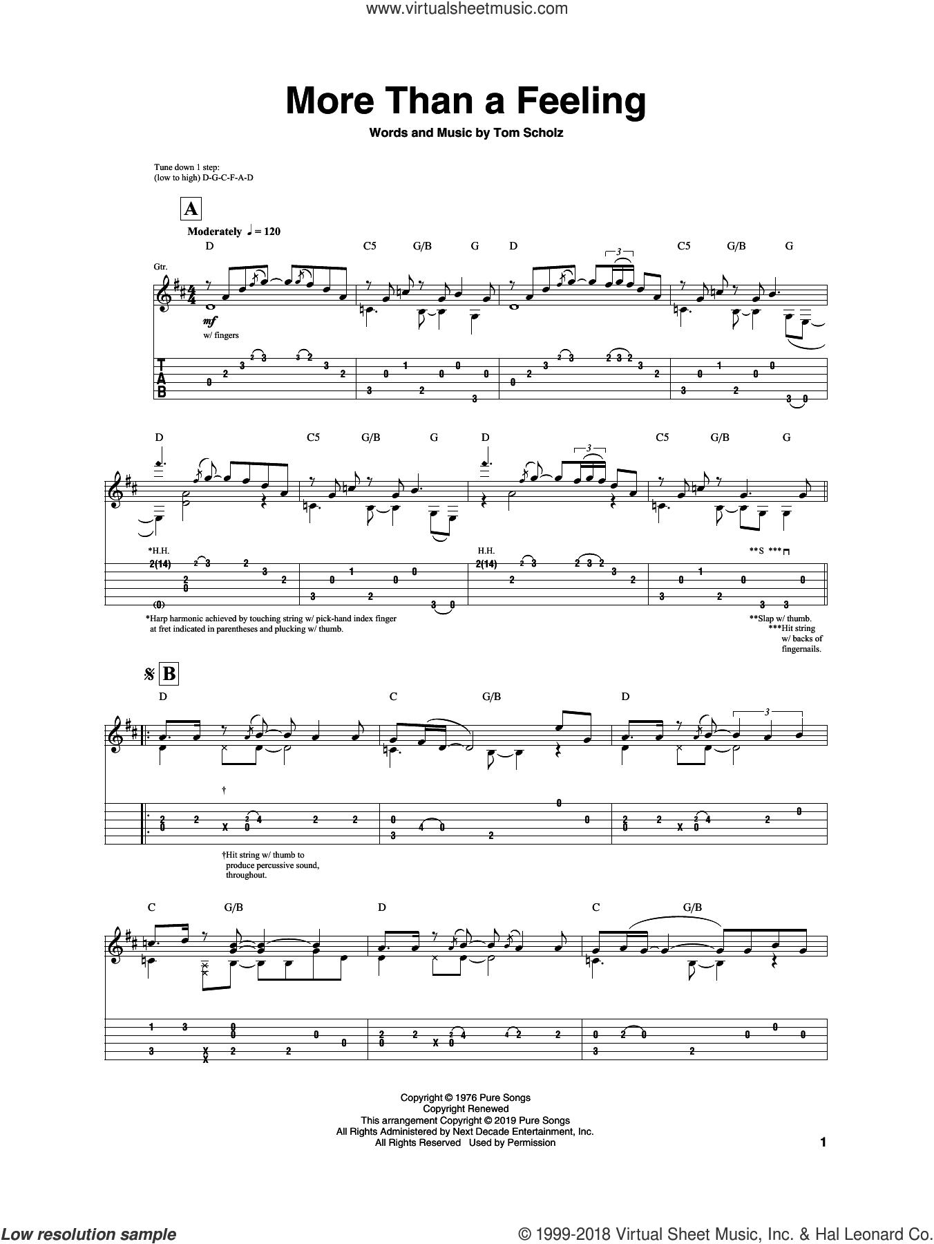 More Than A Feeling sheet music for guitar (tablature) by Boston, Igor Presnyakov and Tom Scholz, intermediate skill level