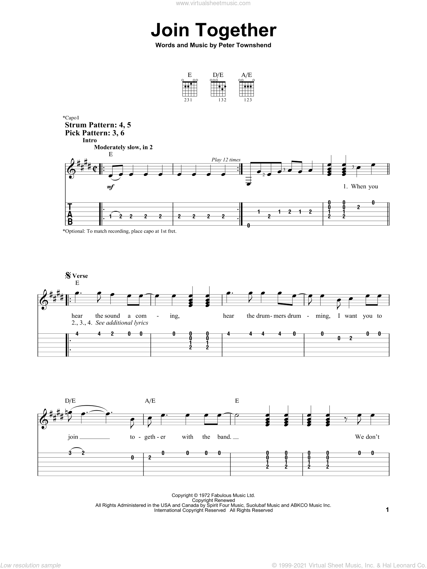 Join Together sheet music for guitar solo (easy tablature) by The Who and Pete Townshend, easy guitar (easy tablature)