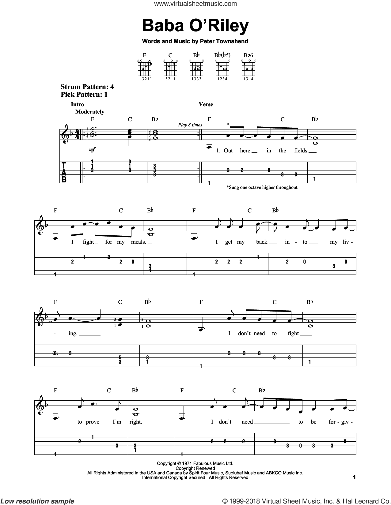 Baba O'Riley sheet music for guitar solo (easy tablature) by The Who and Pete Townshend, easy guitar (easy tablature)