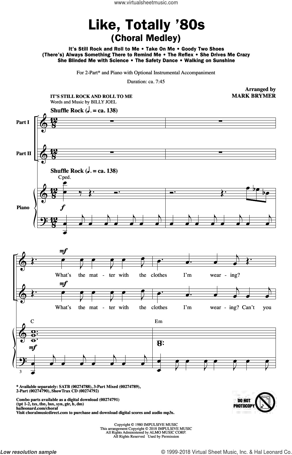 Like, Totally '80s (arr. Mark Brymer) sheet music for choir (2-Part)  and Mark Brymer, intermediate duet