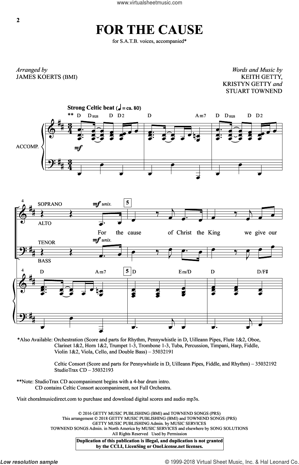 For the Cause (arr. James Koerts) sheet music for choir (SATB: soprano, alto, tenor, bass) by Keith and Kristyn Getty, James Koerts, Keith Getty, Kristyn Getty and Stuart Townend, intermediate skill level