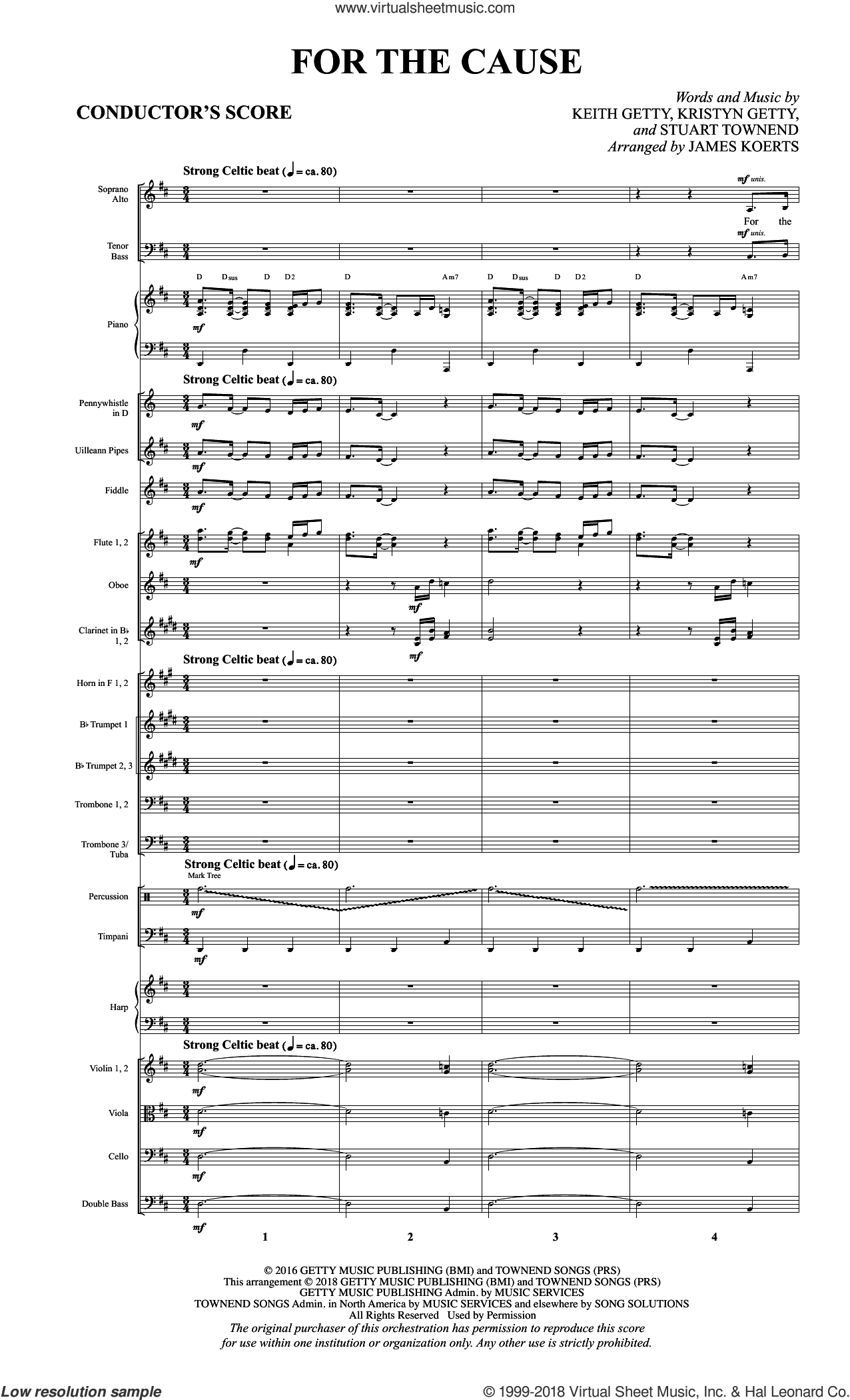 For the Cause (arr. James Koerts) (COMPLETE) sheet music for orchestra by Keith and Kristyn Getty, James Koerts, Keith Getty, Kristyn Getty and Stuart Townend, intermediate skill level